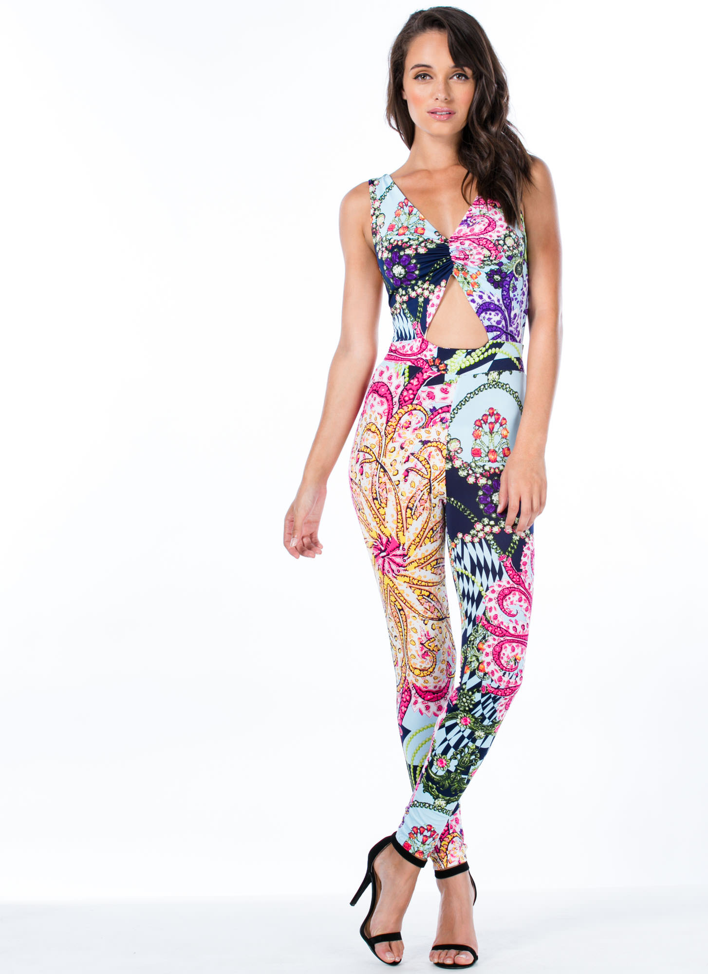 Paisley Glam Cut-Out Jumpsuit MULTI