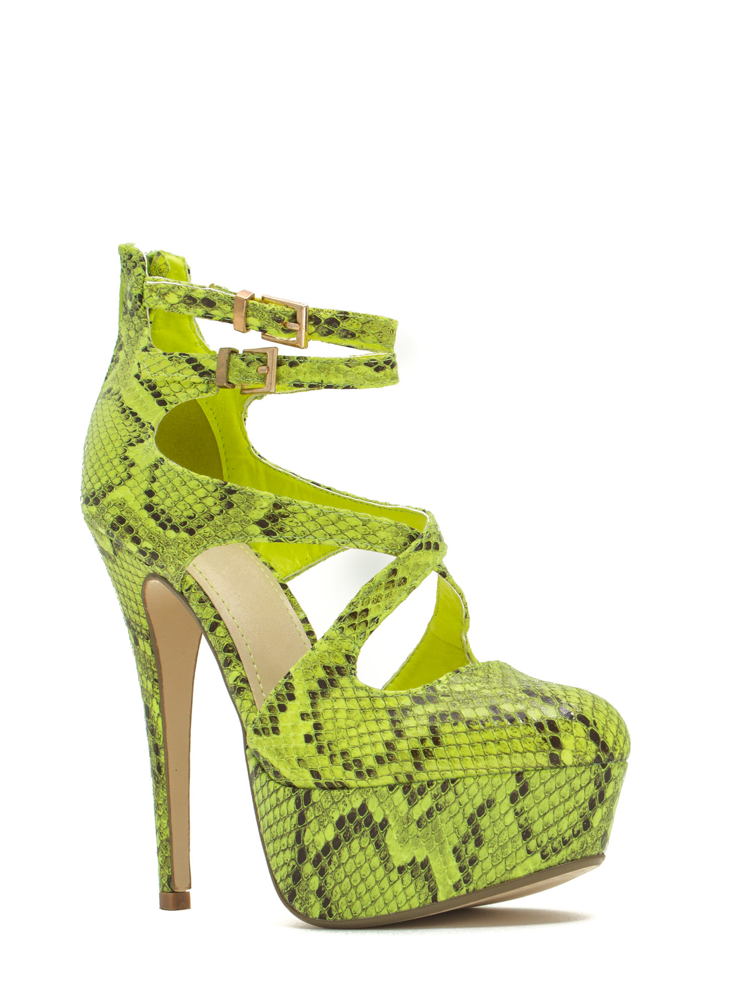 Cross The Intersection Platform Heels LIME