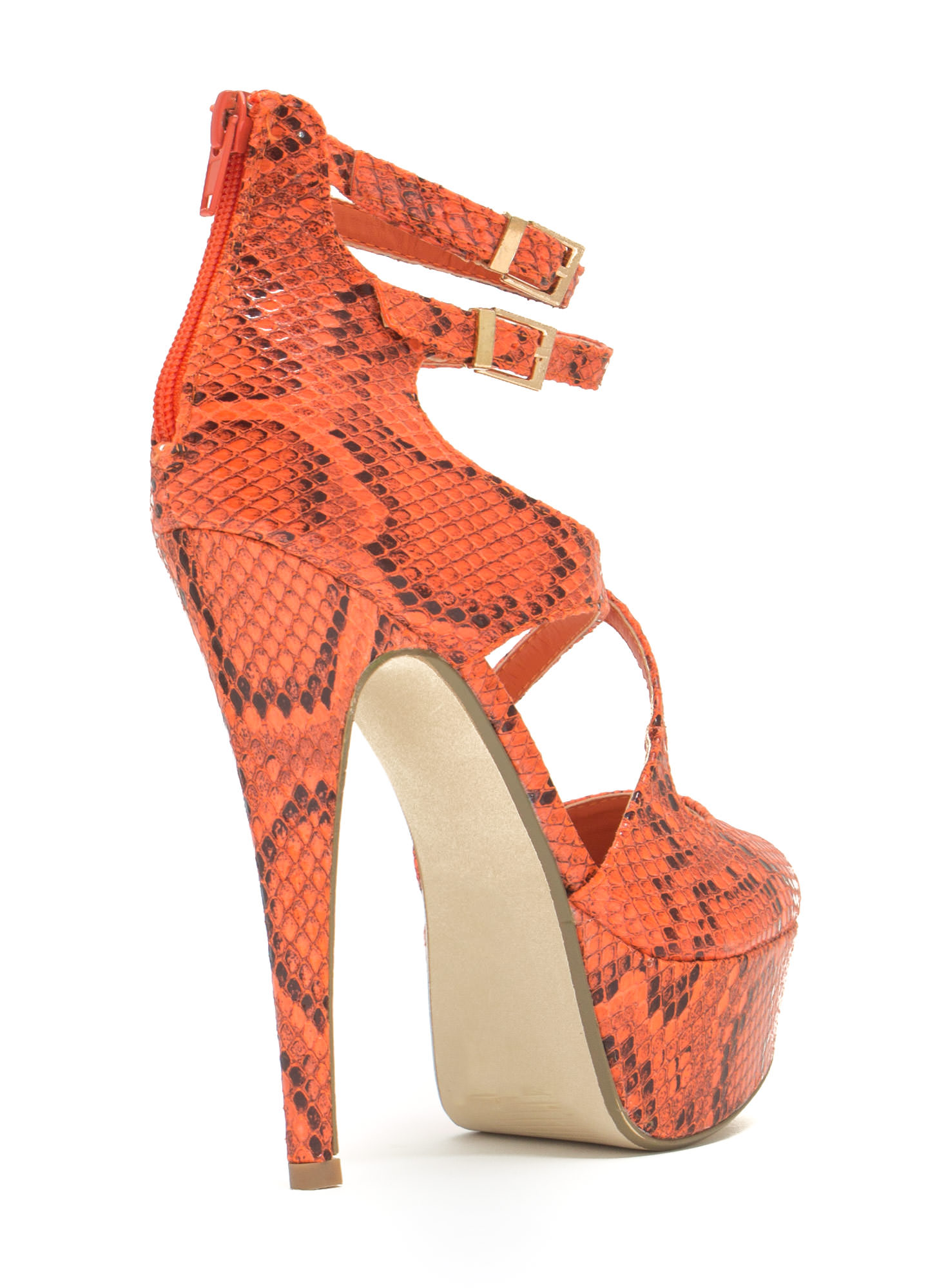 Cross The Intersection Platform Heels ORANGE