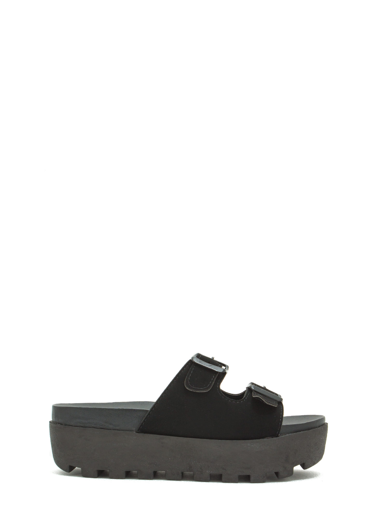 Conquer It Flatform Slide Sandals BLACK