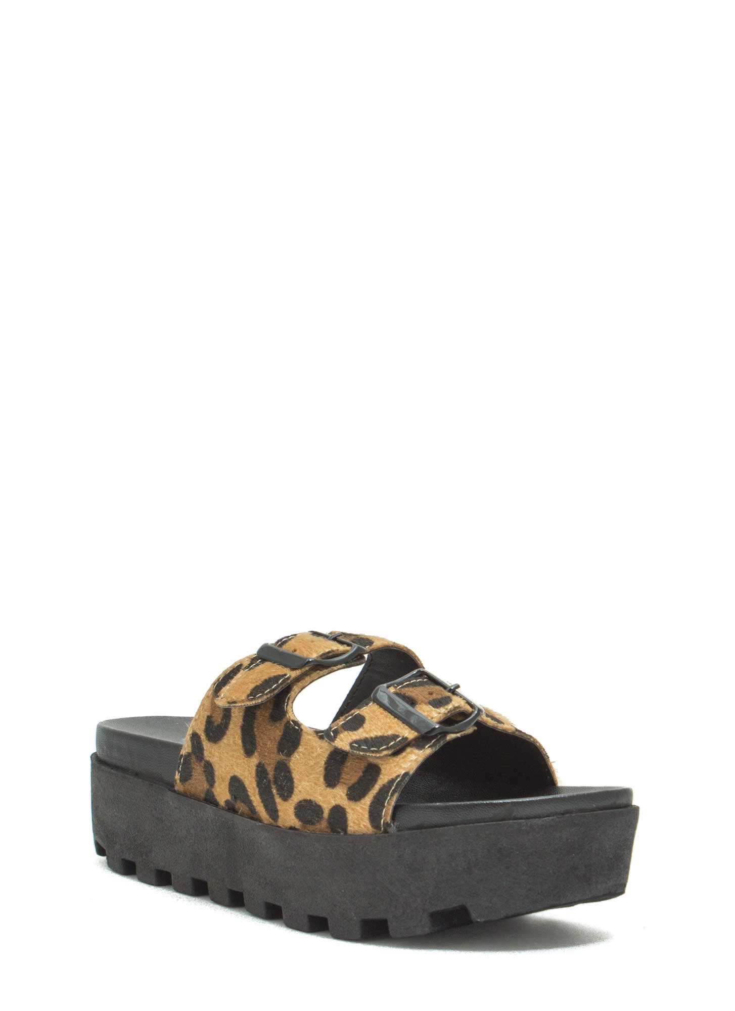 Conquer It Flatform Slide Sandals LEOPARD