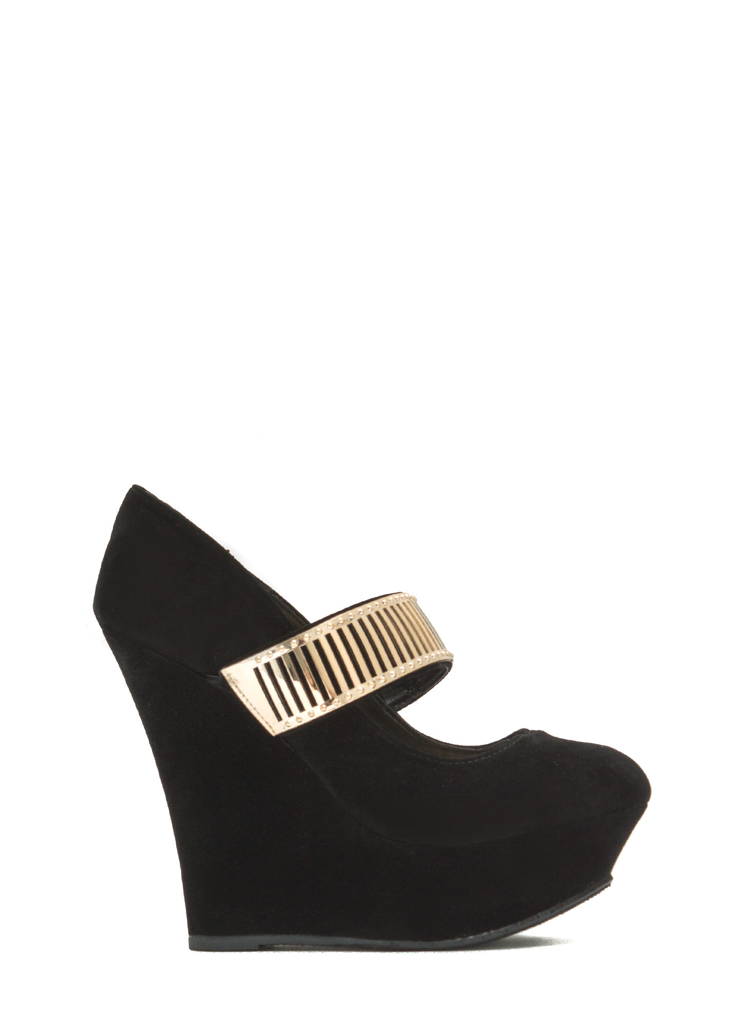 Let's Vent Plated Strap Platform Wedges BLACK