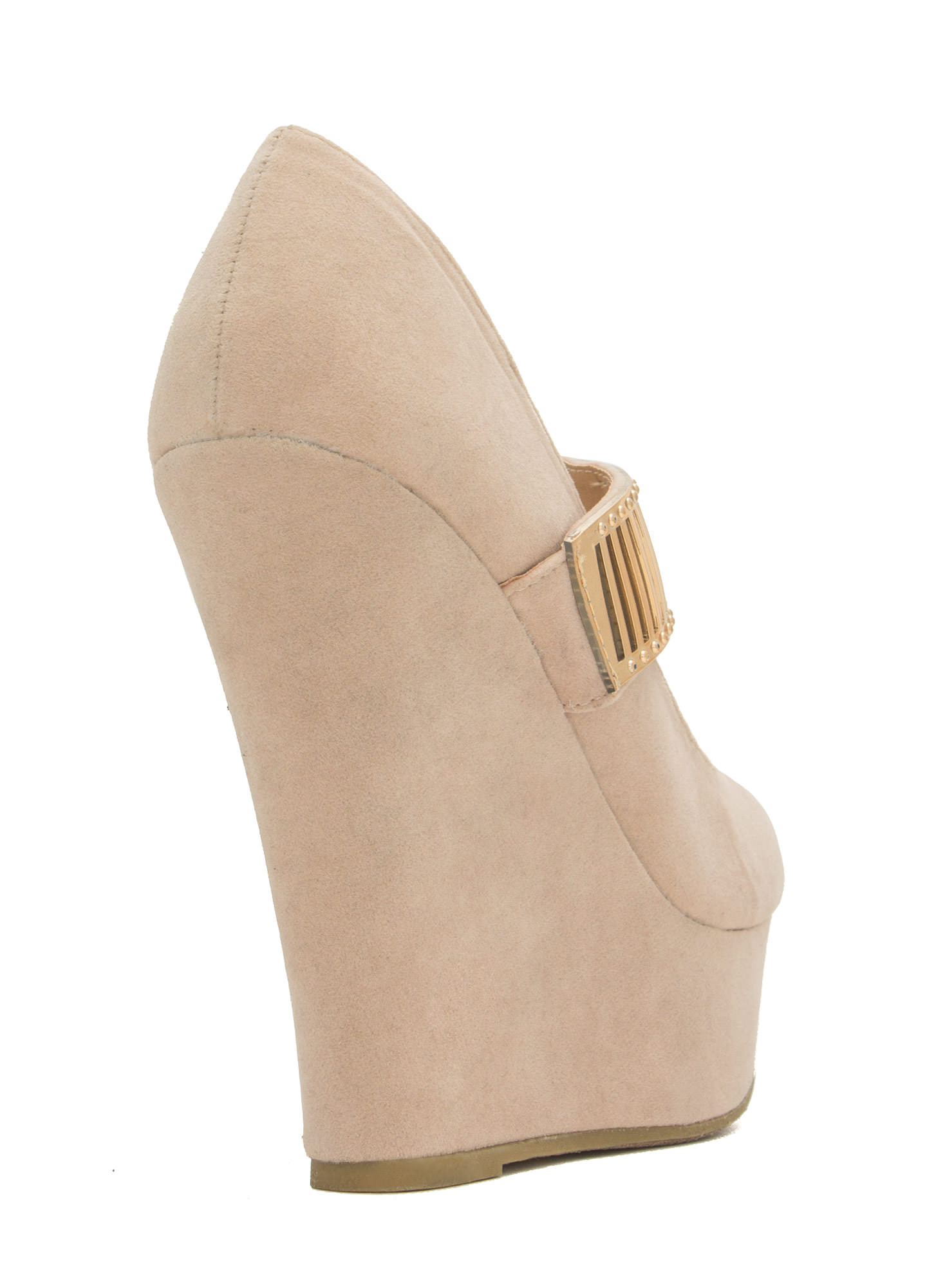 Let's Vent Plated Strap Platform Wedges NUDE