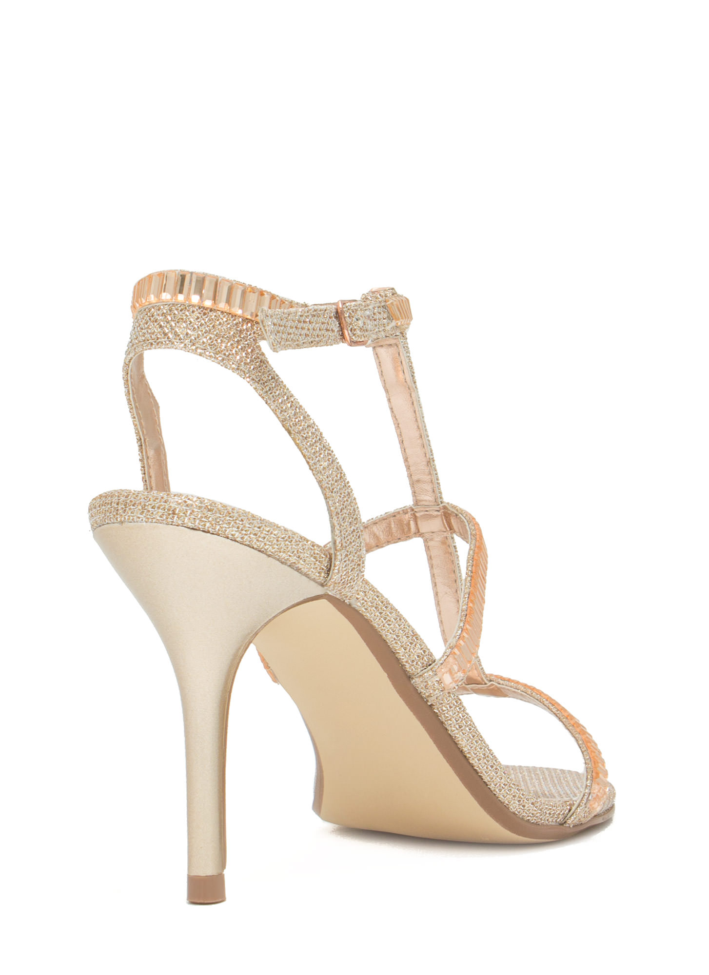 Moonlit Dancer Faux Jewel Stiletto Heels ROSEGOLD
