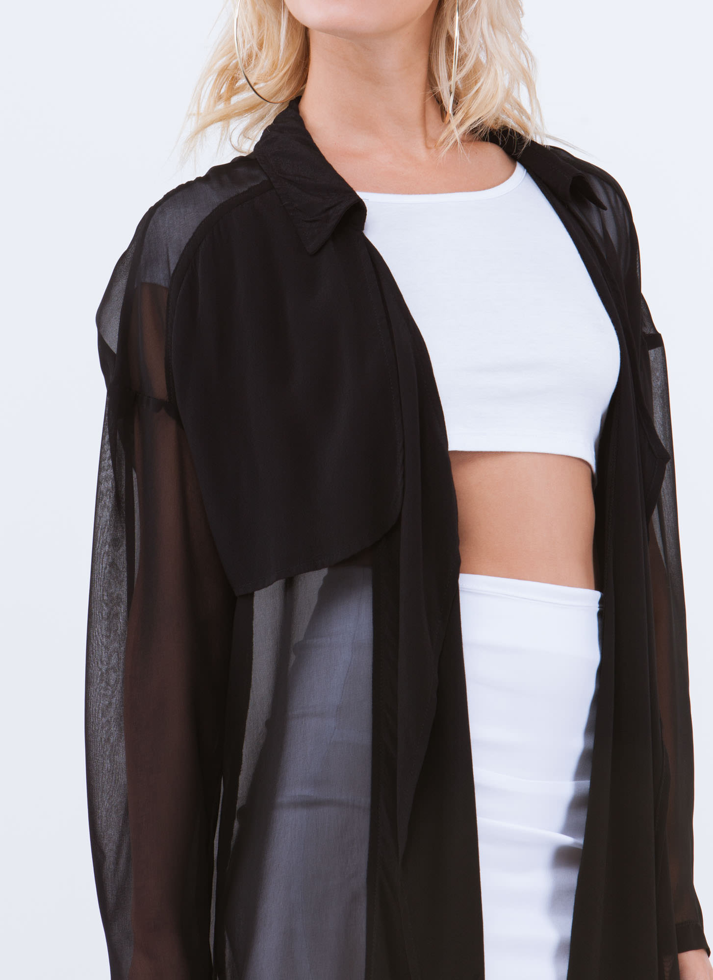 Chic 'N Sheer Oversized Blazer BLACK
