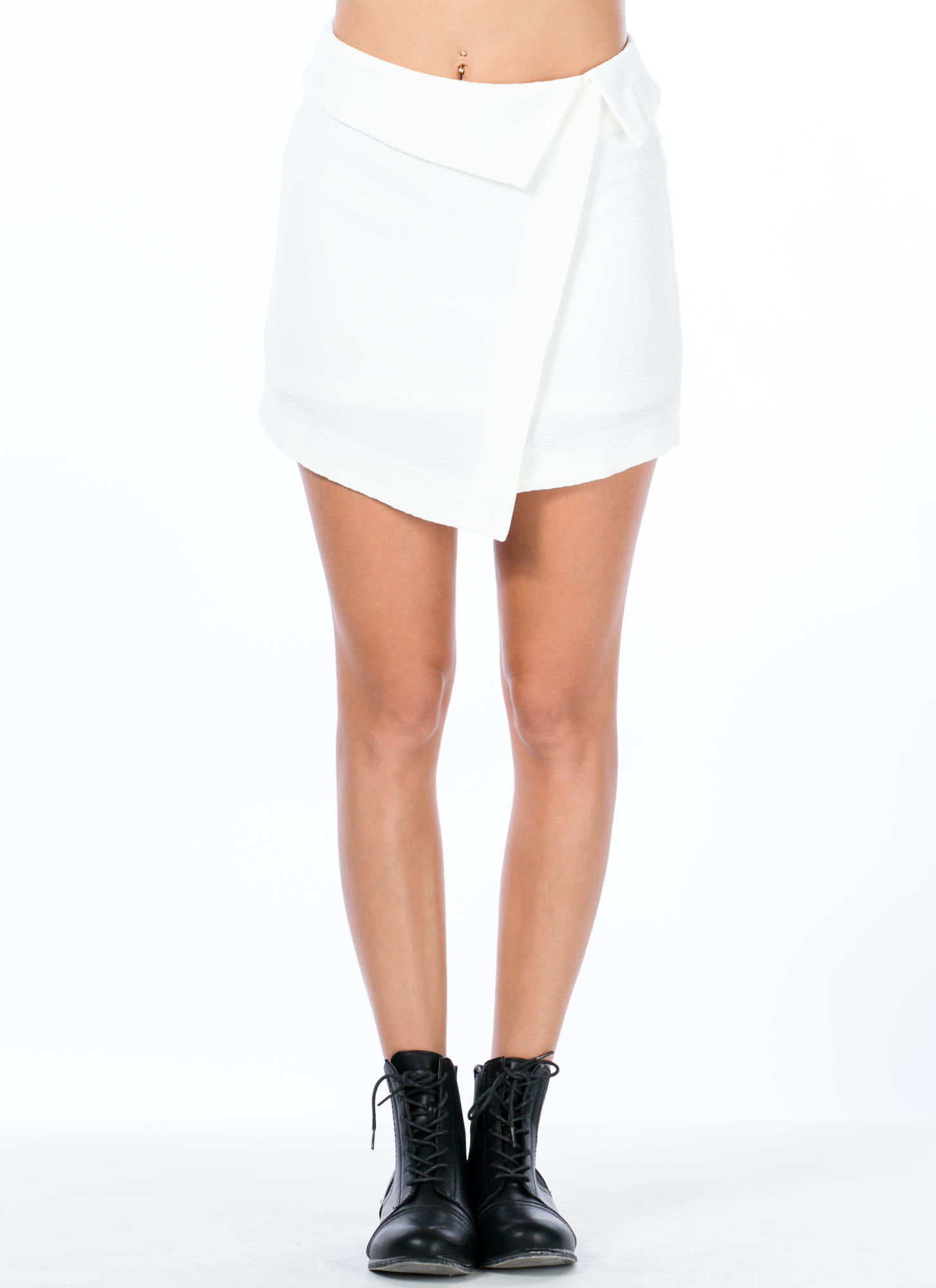 Folded Origami Mini Skirt WHITE
