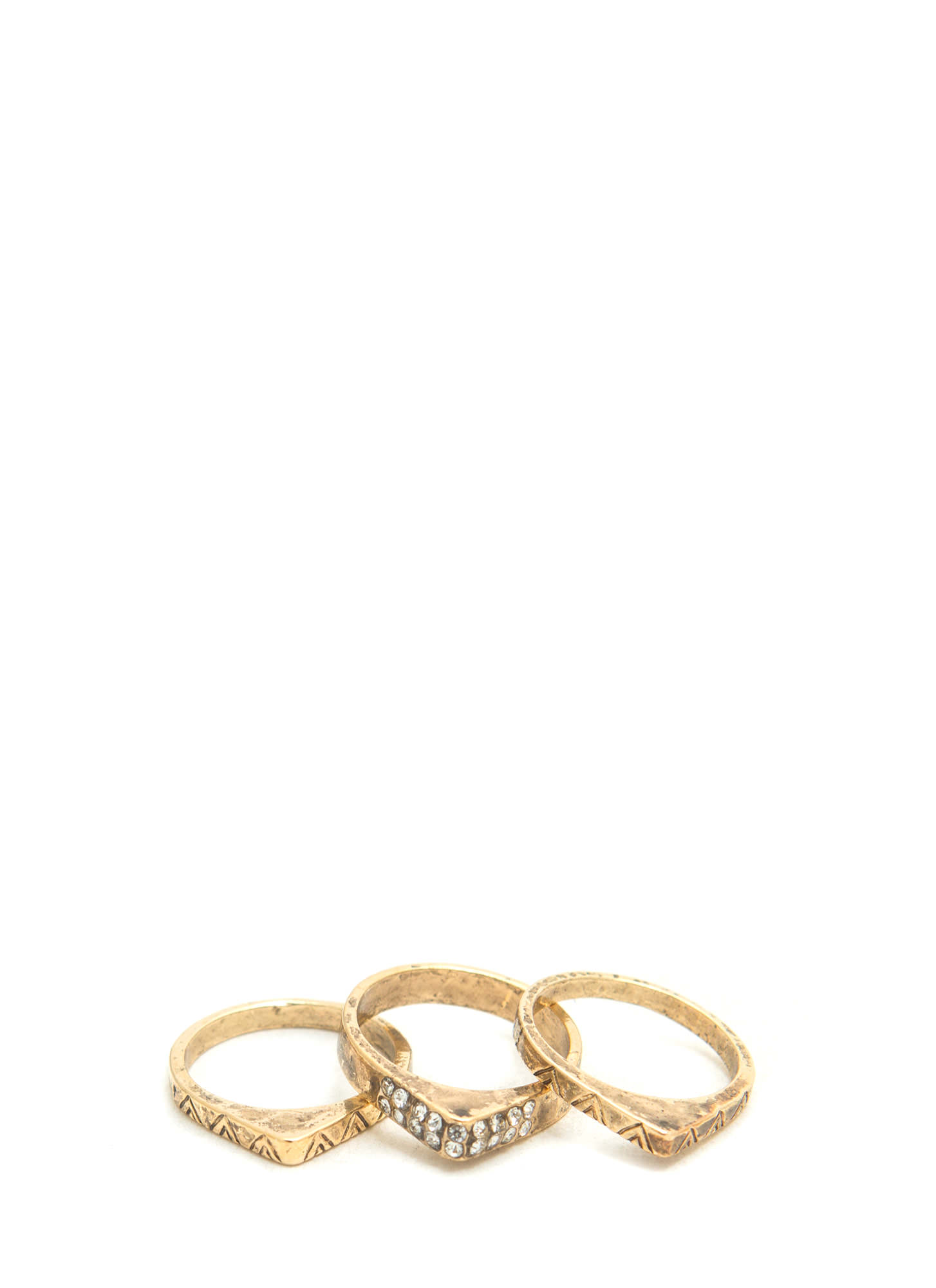 Triple Antique Midi Ring Set DKGOLD