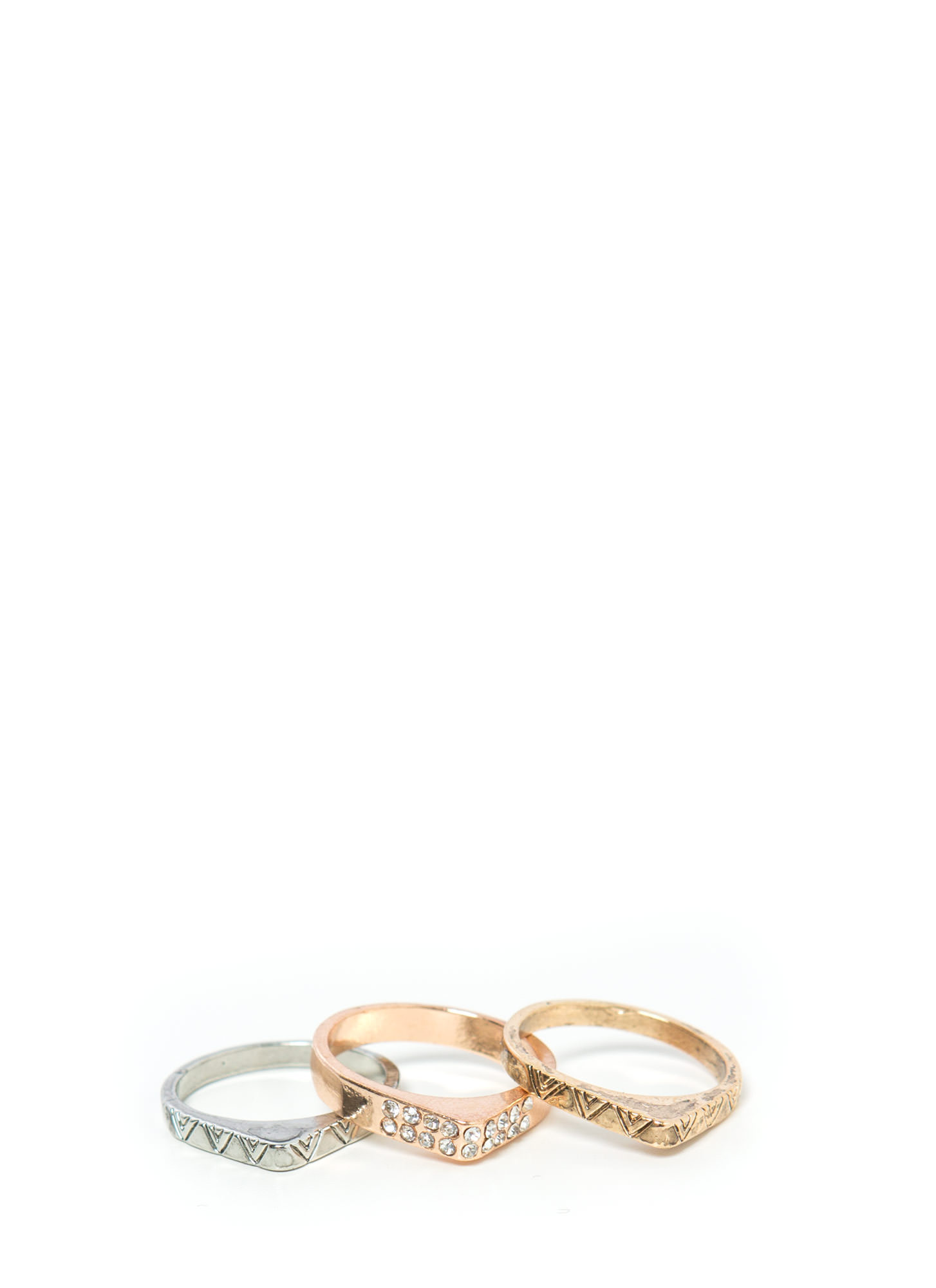 Triple Antique Midi Ring Set DKMULTI