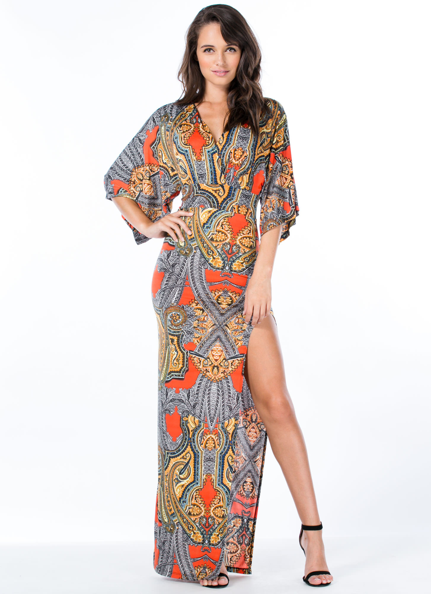 Flea Market Girl Paisley Maxi Dress ORANGE