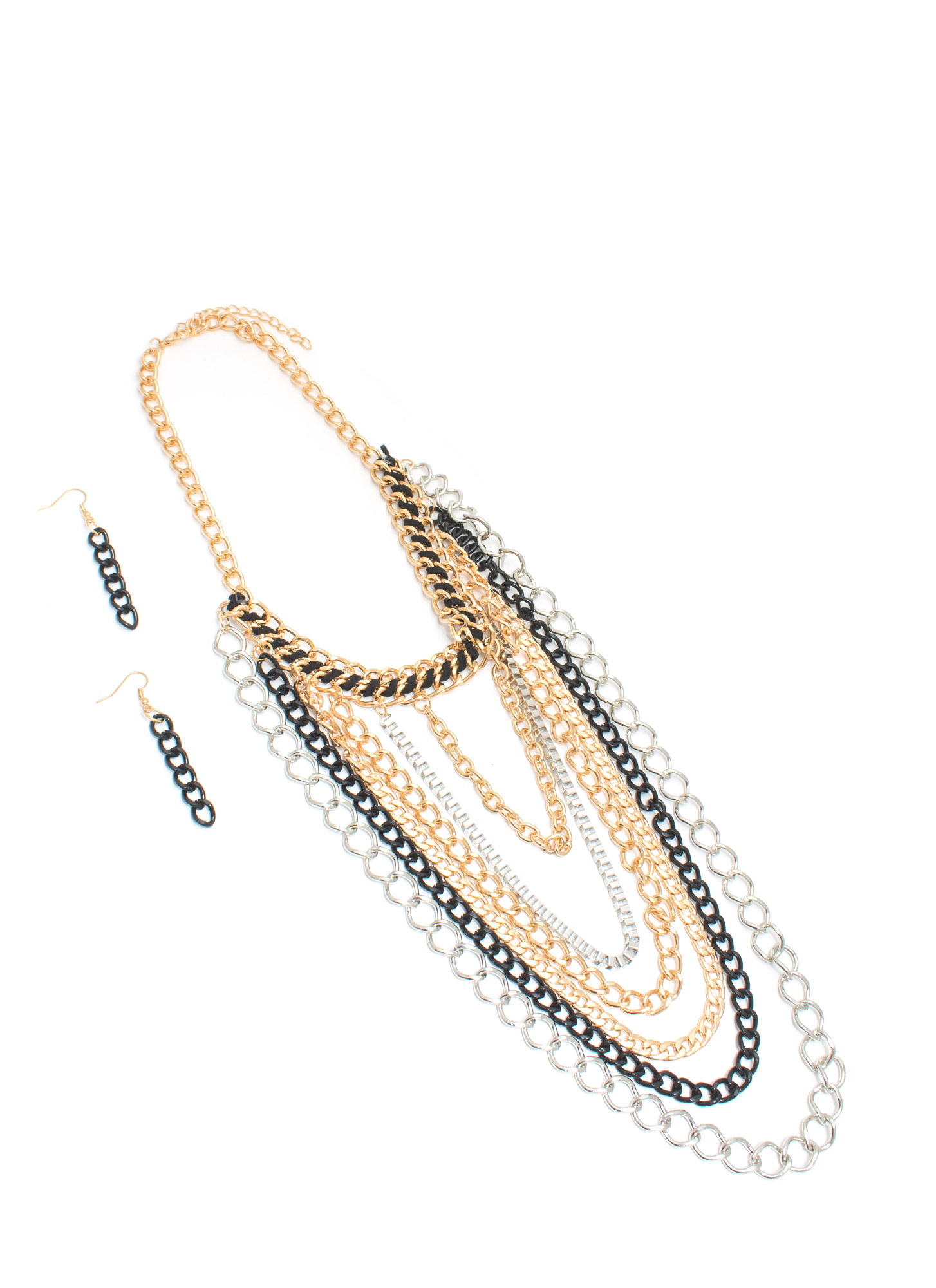 Indecision Mixed Metal Chains Necklace Set GLDMULTI