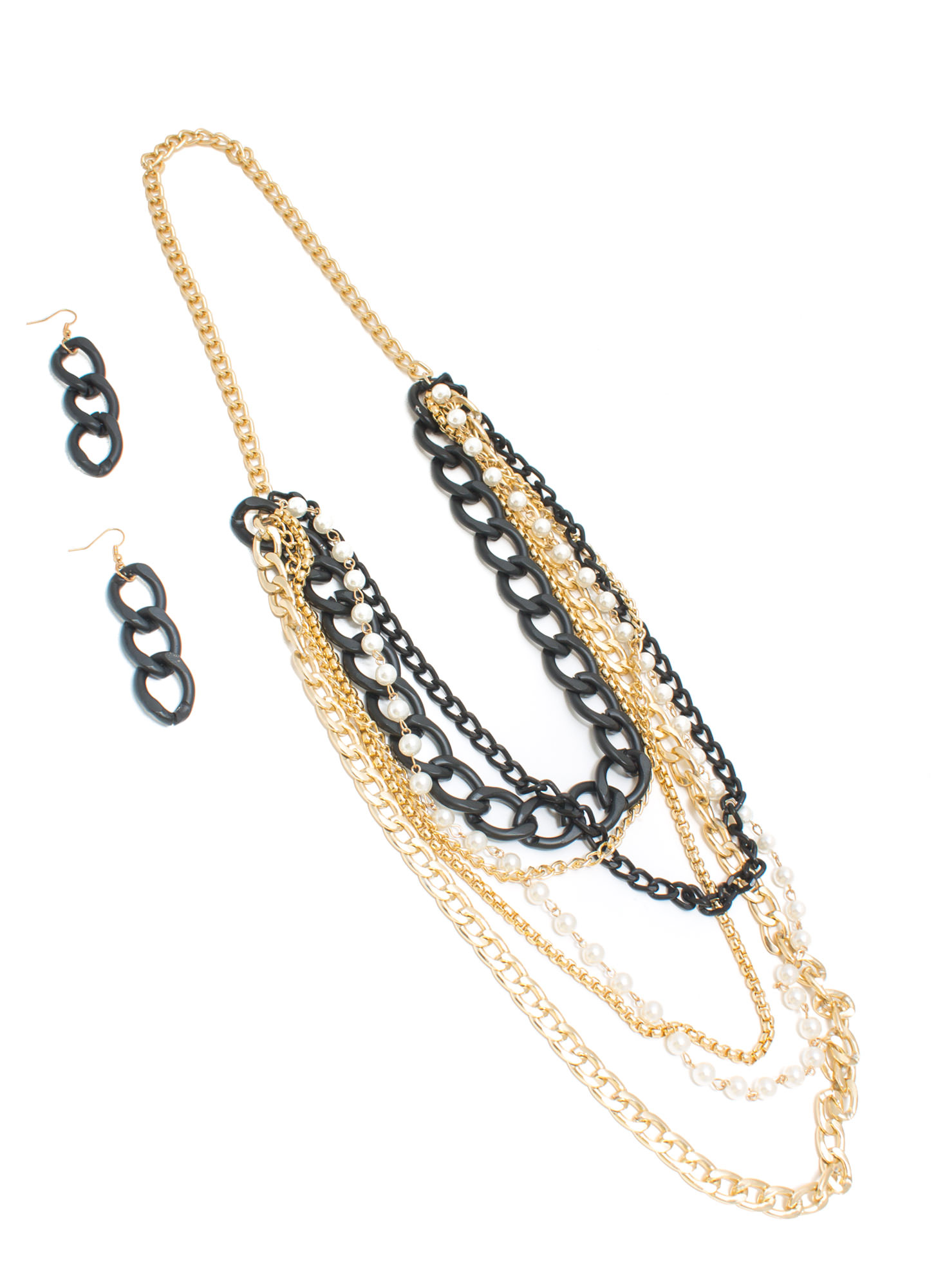 Finish It Faux Pearl 'N Chain Necklace Set GLDBLK