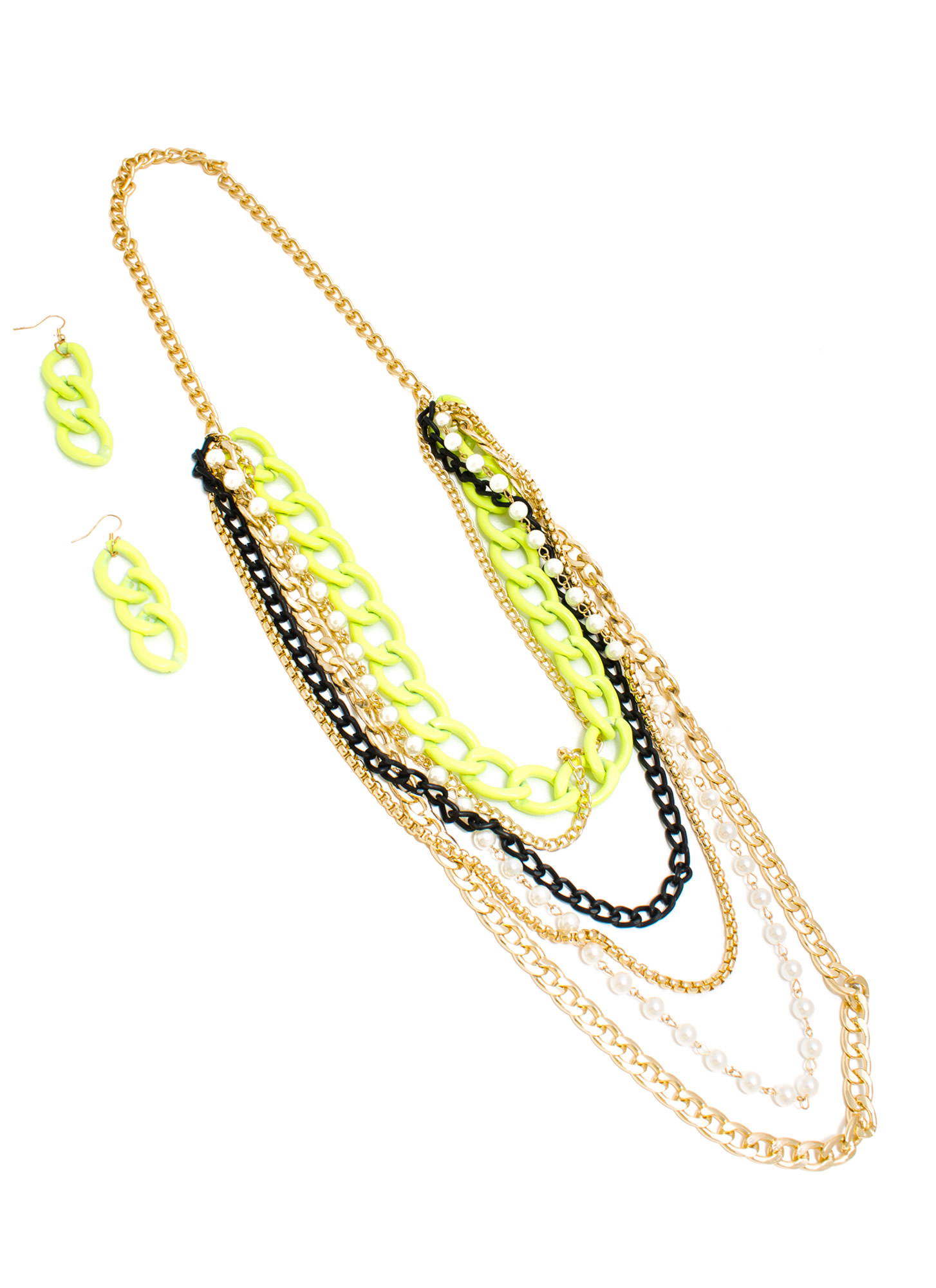 Finish It Faux Pearl 'N Chain Necklace Set GLDYLW