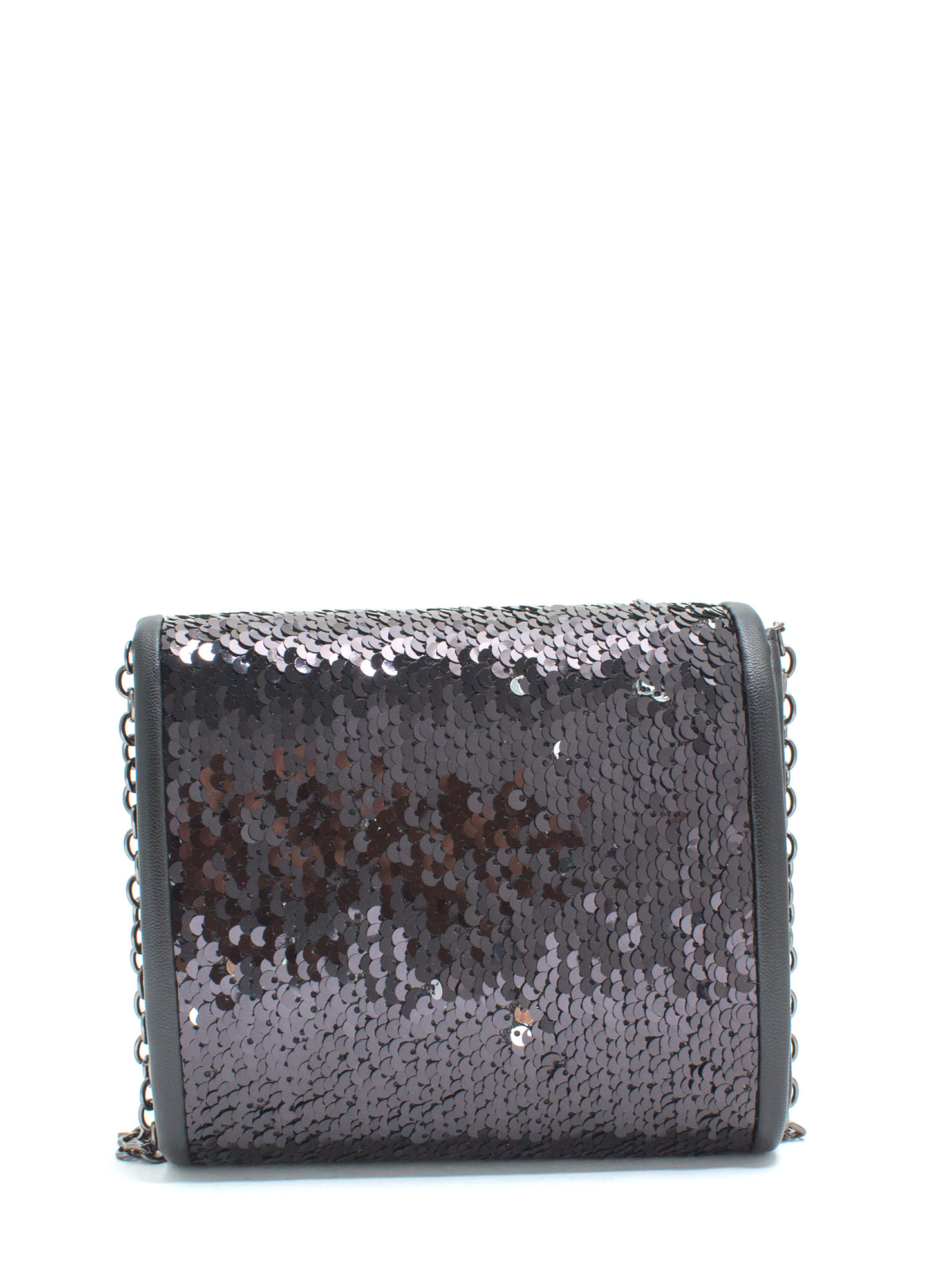Just Wanna Dance Faux Leather Sequin Clutch BLACK