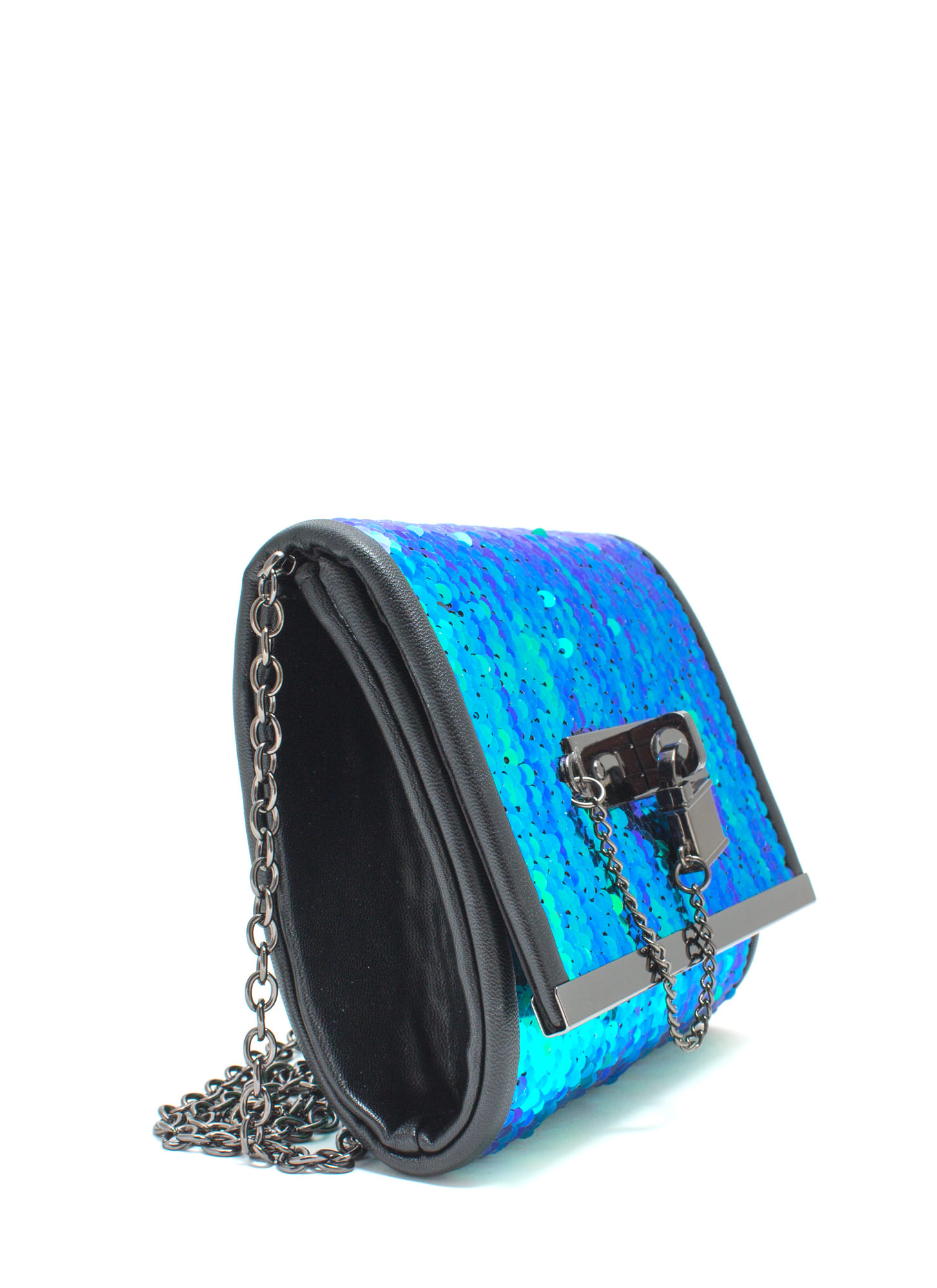 Just Wanna Dance Faux Leather Sequin Clutch BLUEGRN