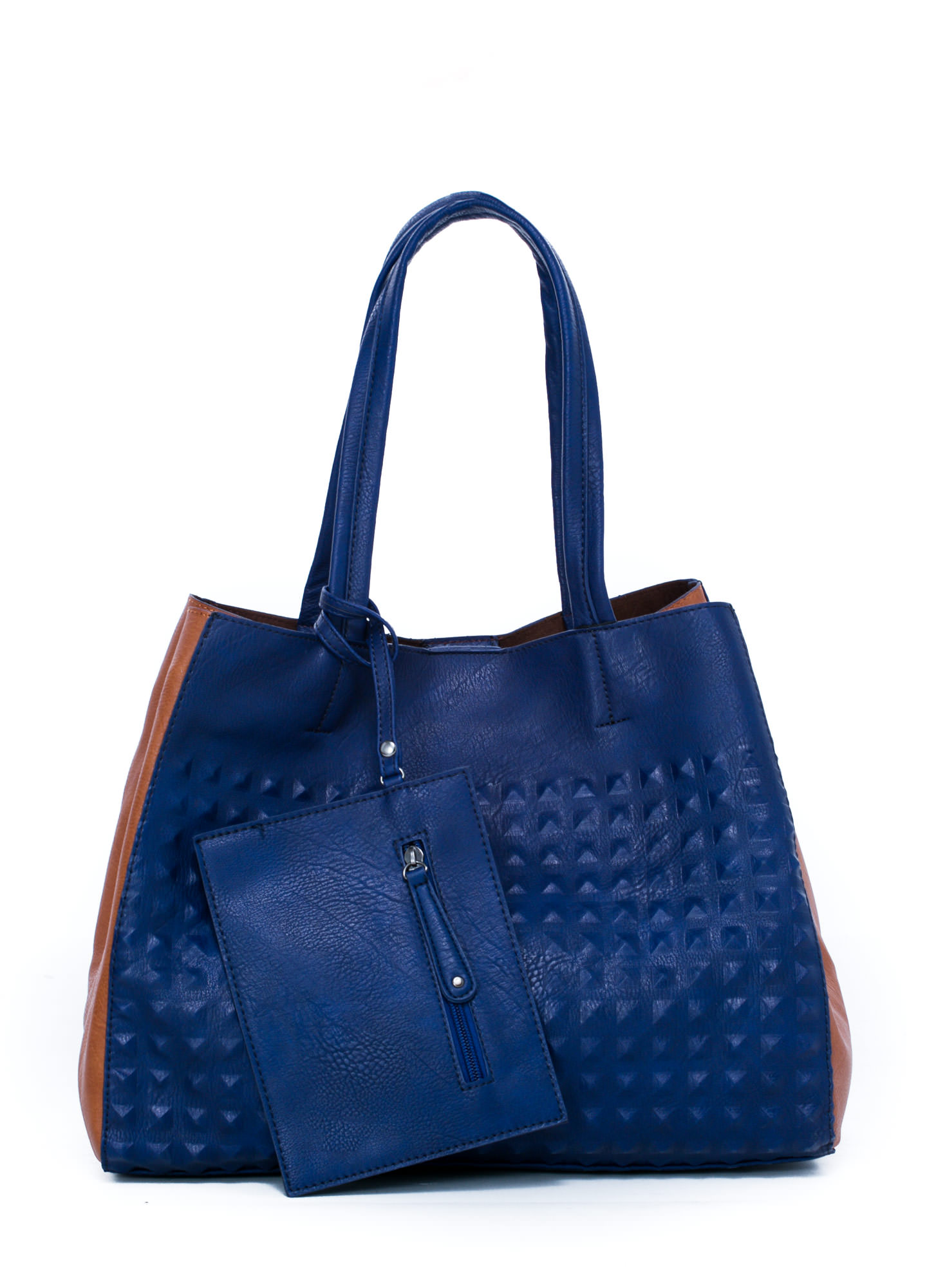 Studly Contrast Paneled Tote Bag BLUE