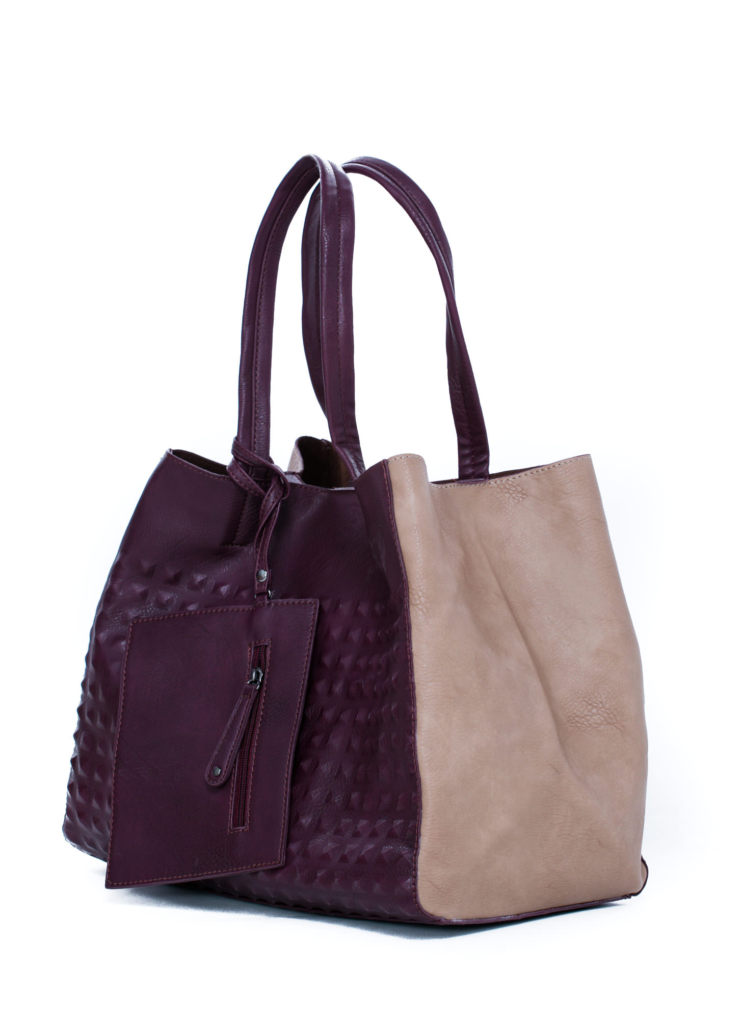 Studly Contrast Paneled Tote Bag PURPLE