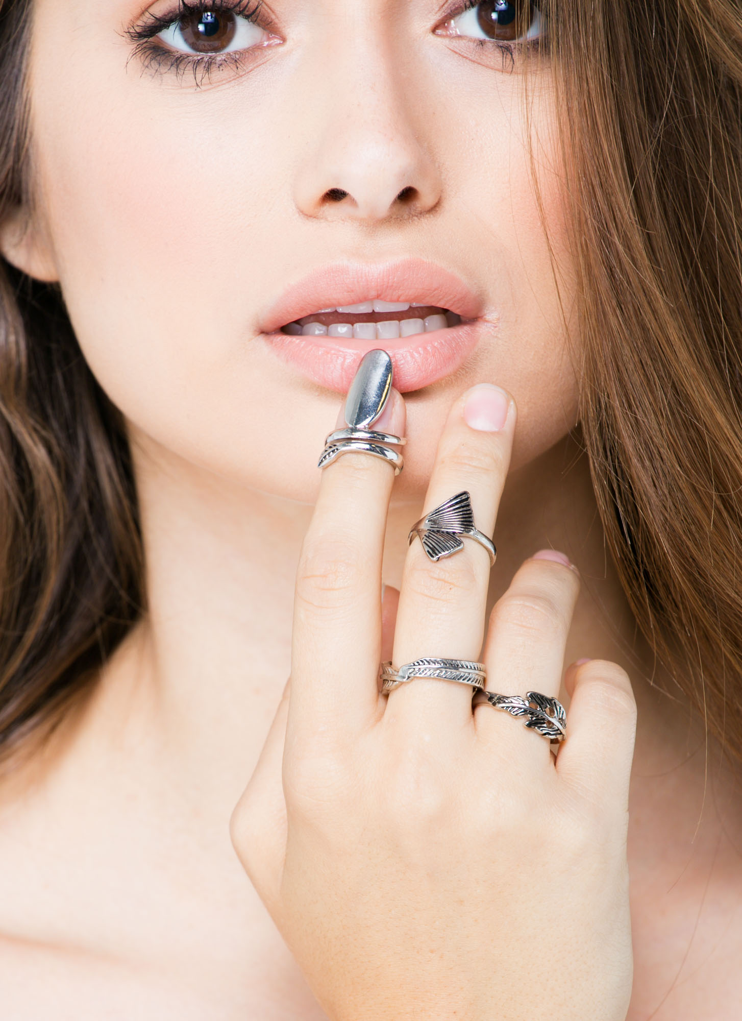 Take Me Or Leaf Me Nail Ring Ring Set  DKSLVR