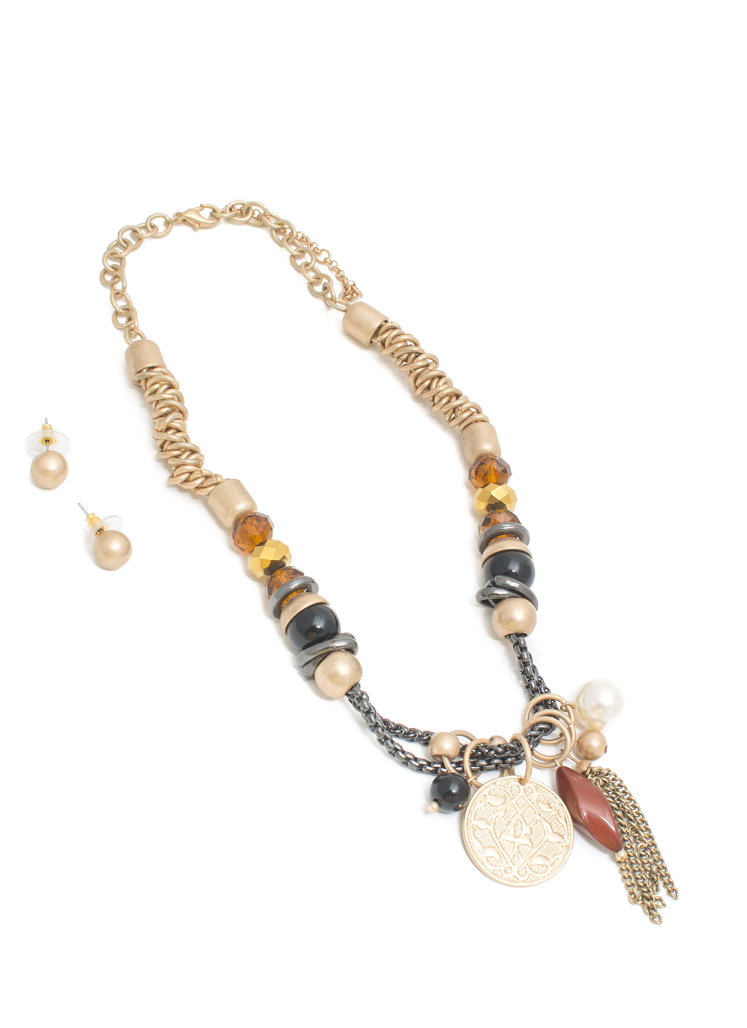 Treasure Chest Beaded Necklace Set BRWNGLD
