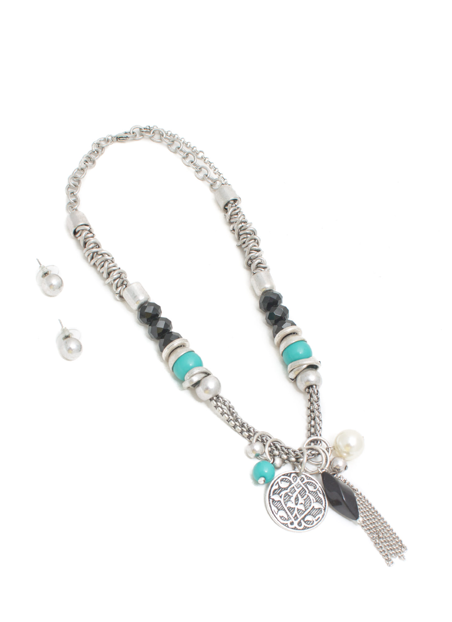 Treasure Chest Beaded Necklace Set TURQSLVR