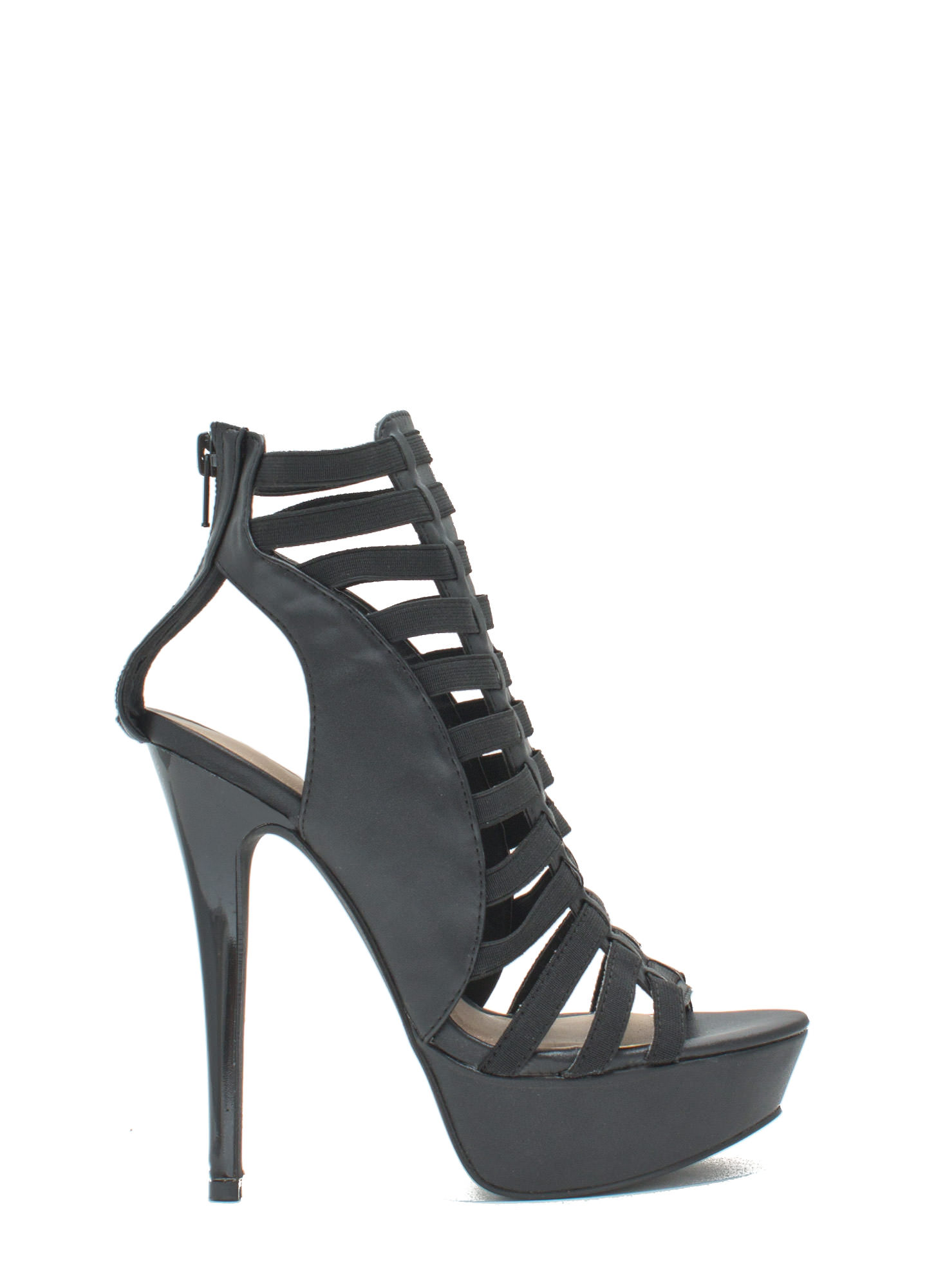 Ladder Up 2 The Top Caged Heels BLACK