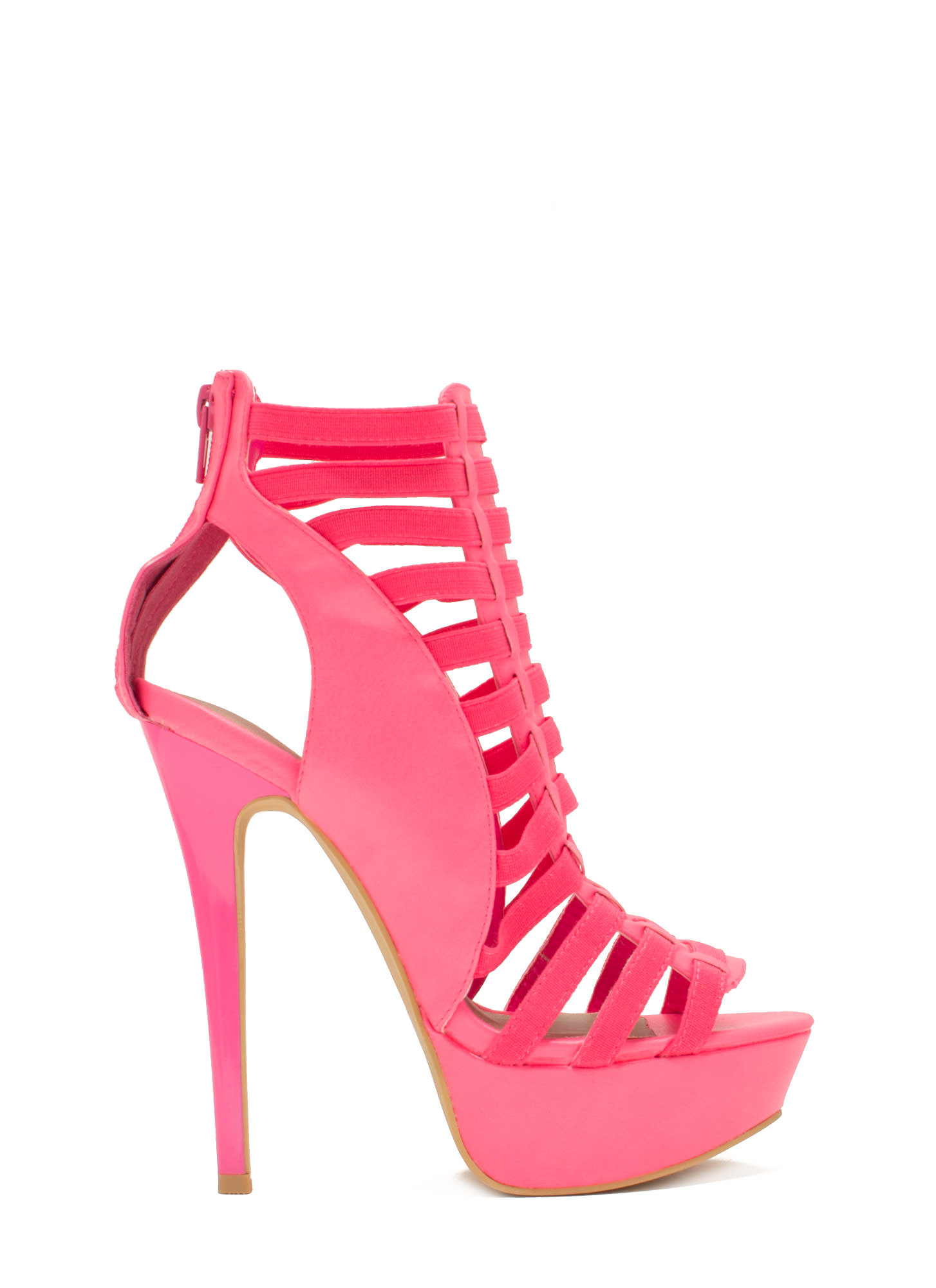 Ladder Up 2 The Top Caged Heels PINK