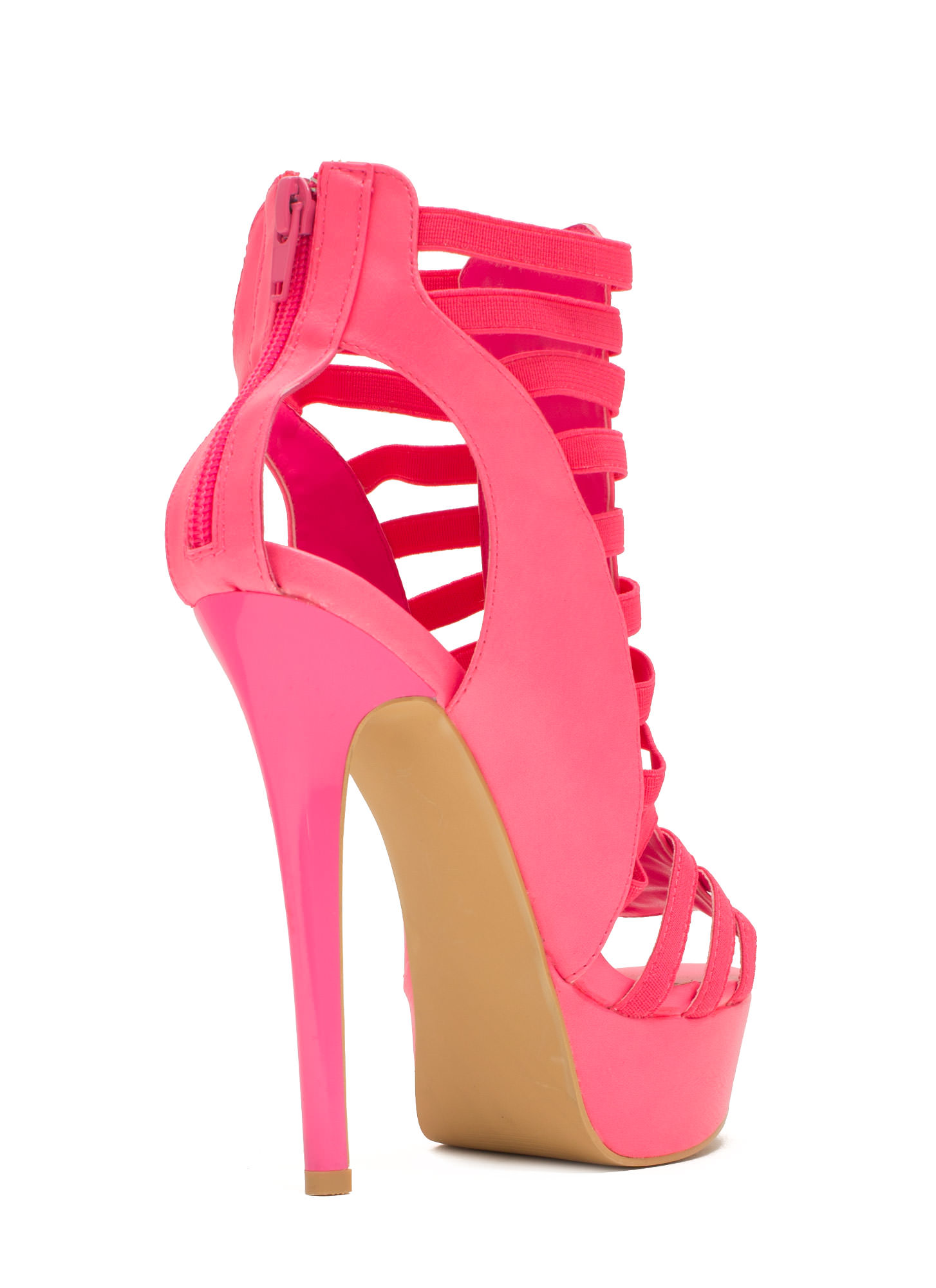 Ladder To The Top Caged Heels PINK