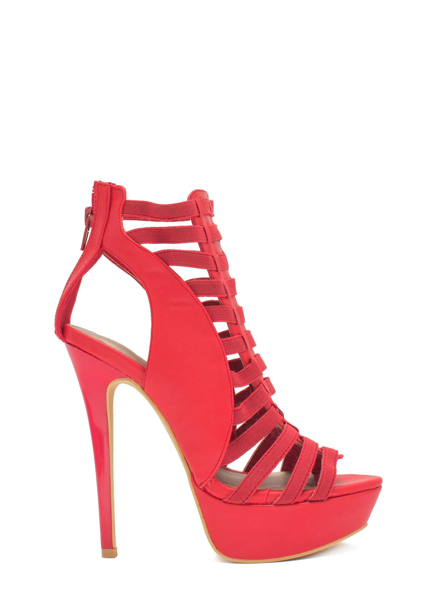 Ladder Up 2 The Top Caged Heels RED