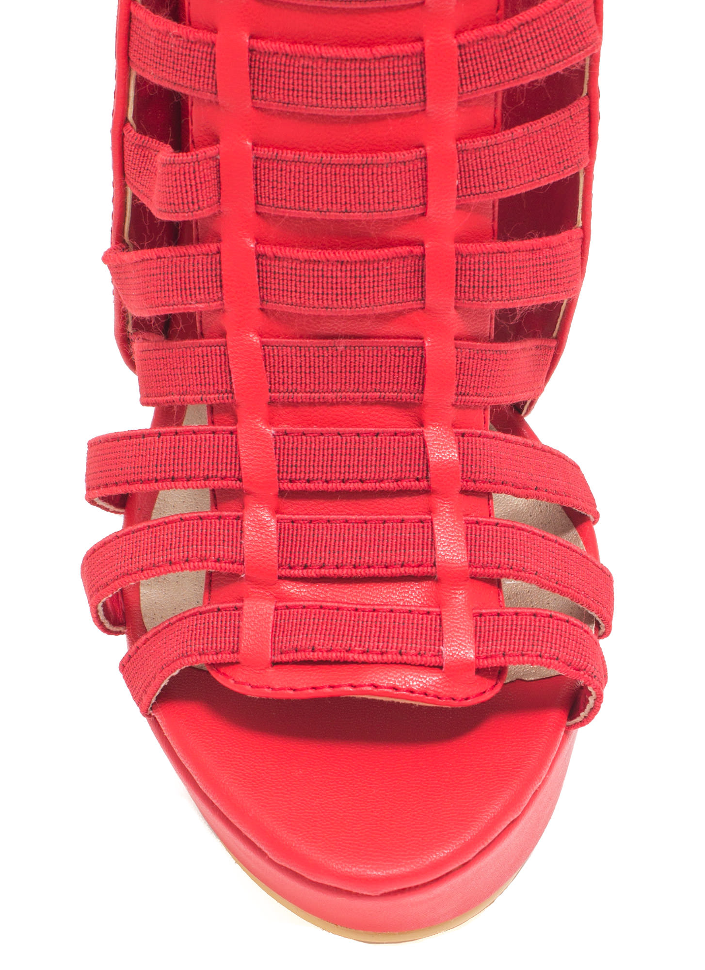 Ladder To The Top Caged Heels RED