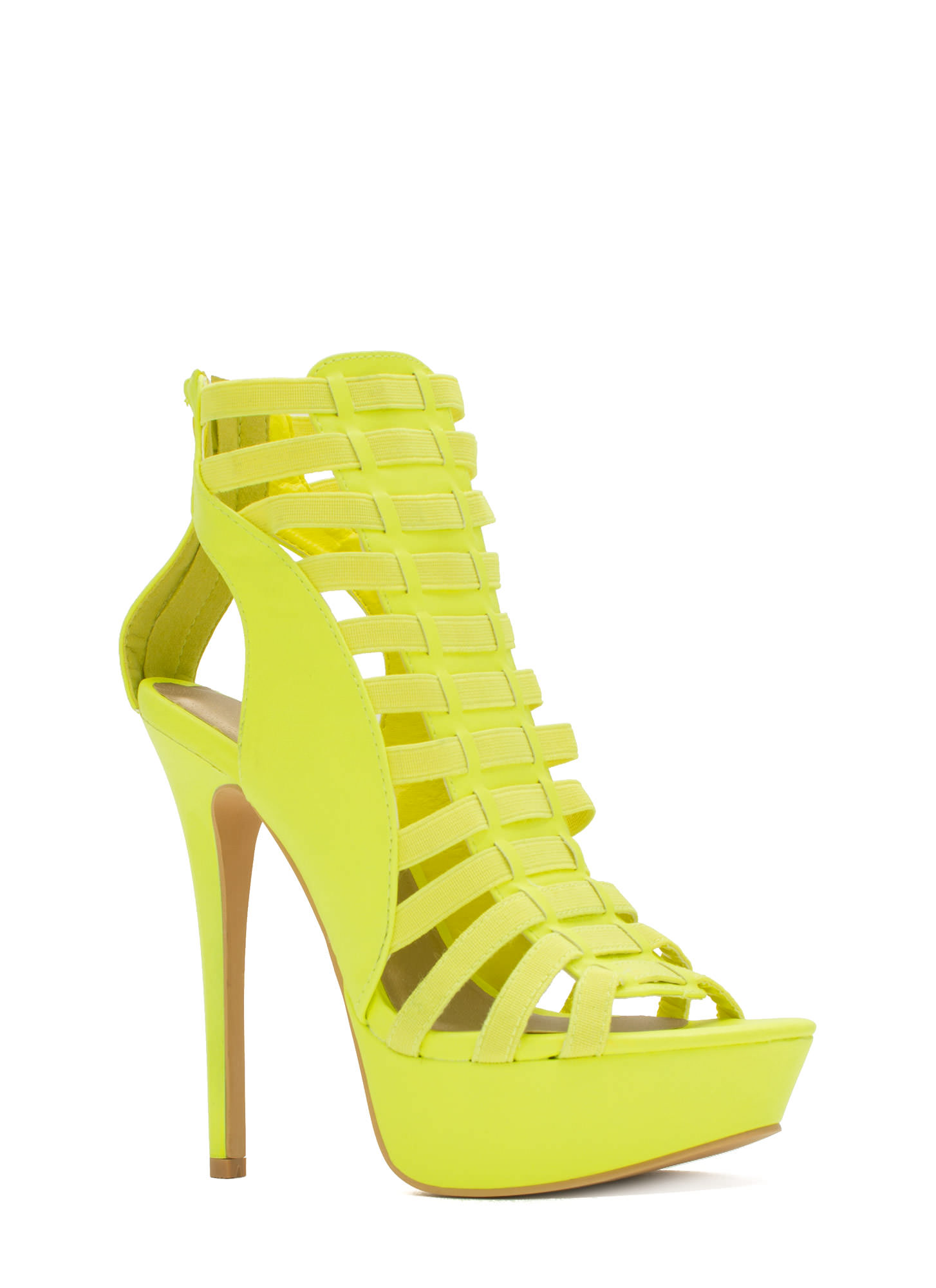 Ladder Up 2 The Top Caged Heels YELLOW