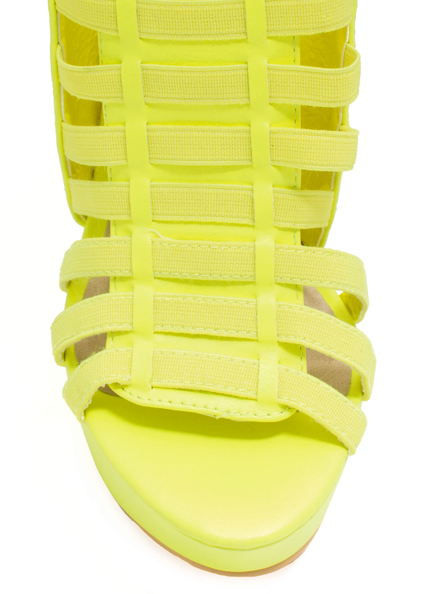 Ladder To The Top Caged Heels YELLOW