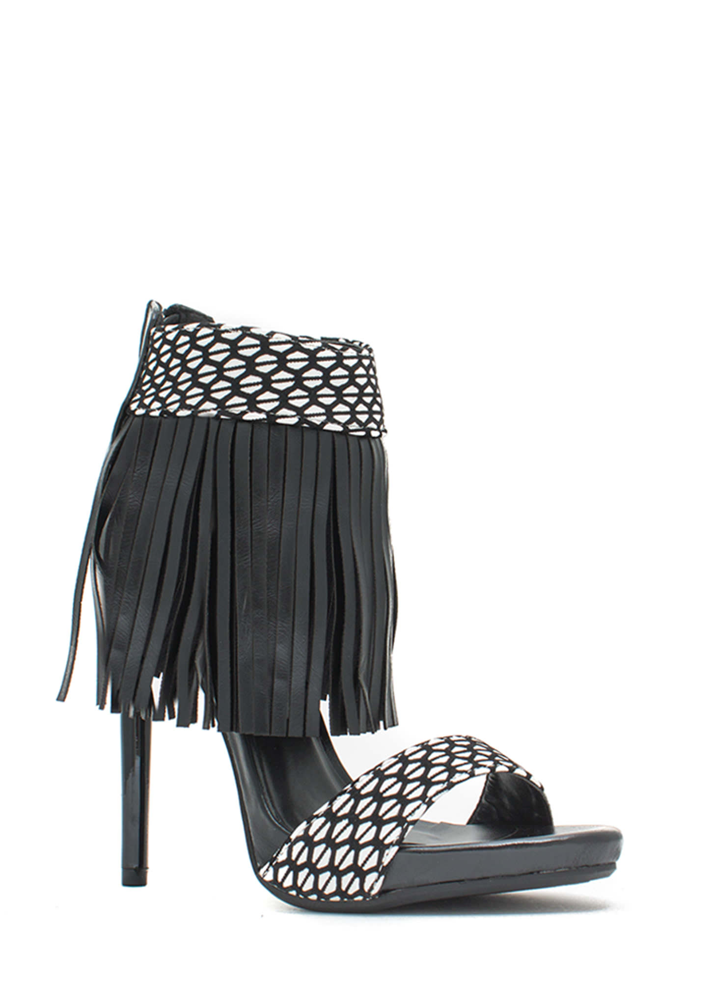 Fringe Party Patterned Heels BLACK