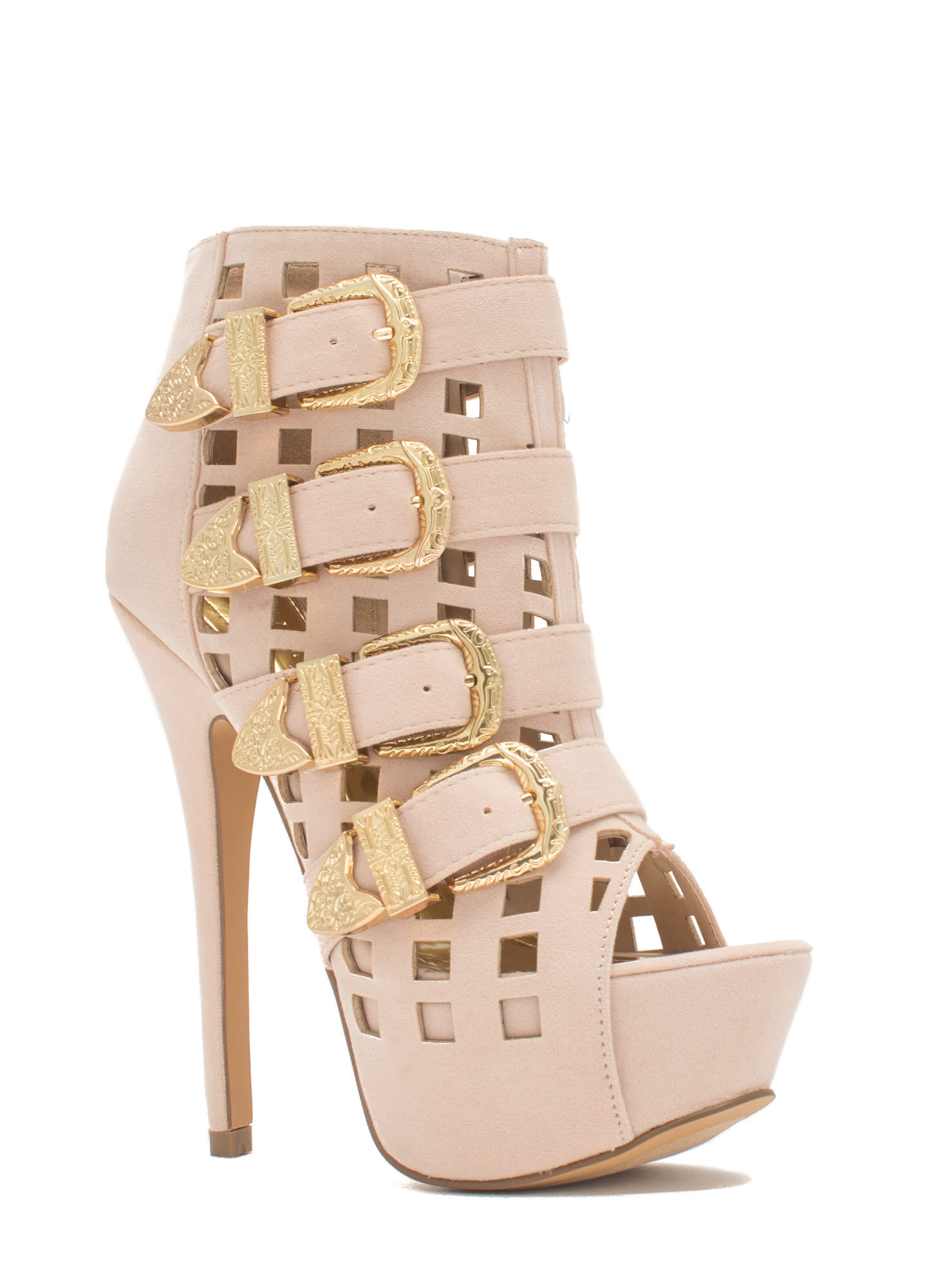 Work The Grid Line Buckled Platform Heels NUDE