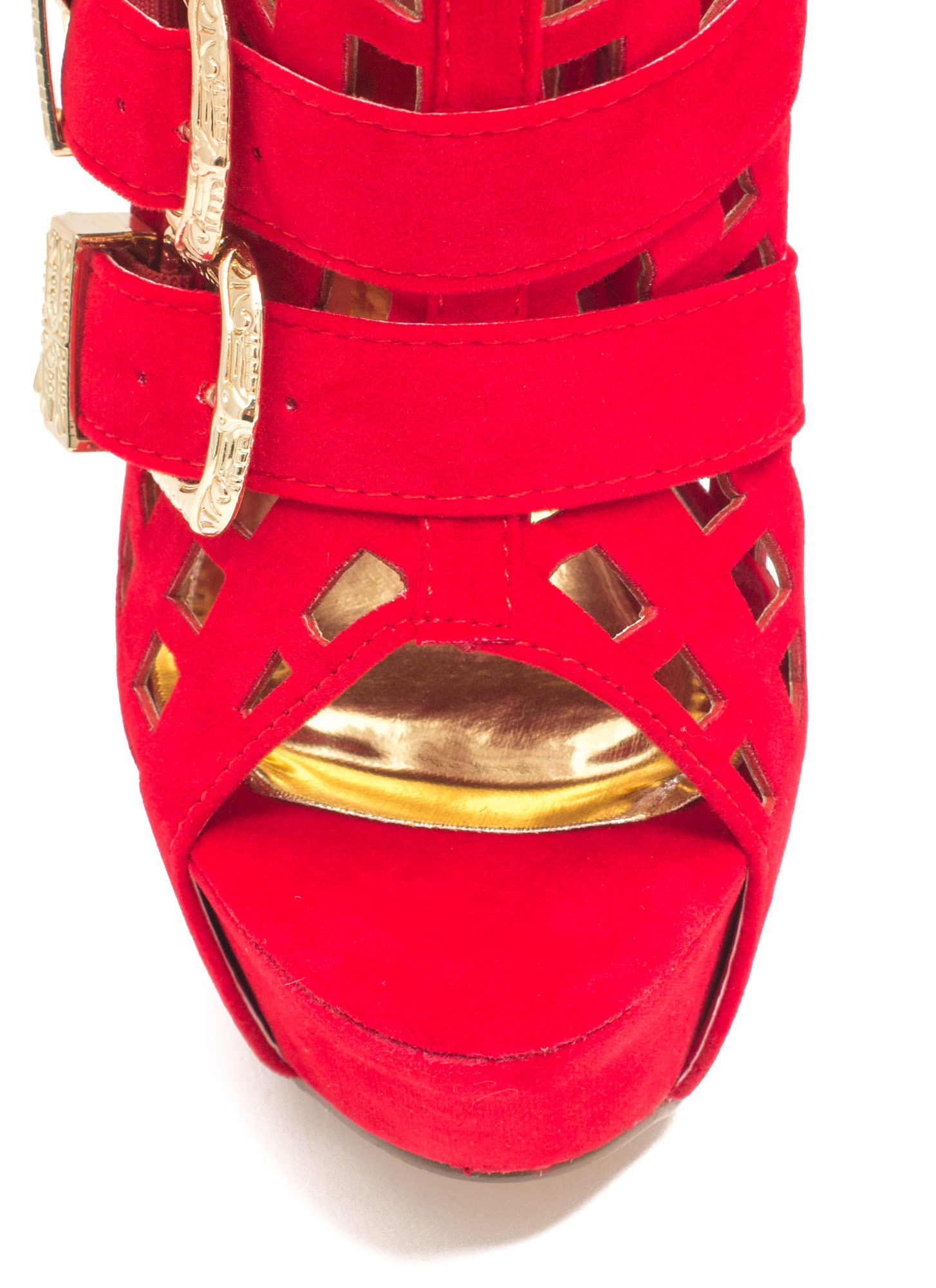 Work The Grid Line Buckled Platform Heels RED