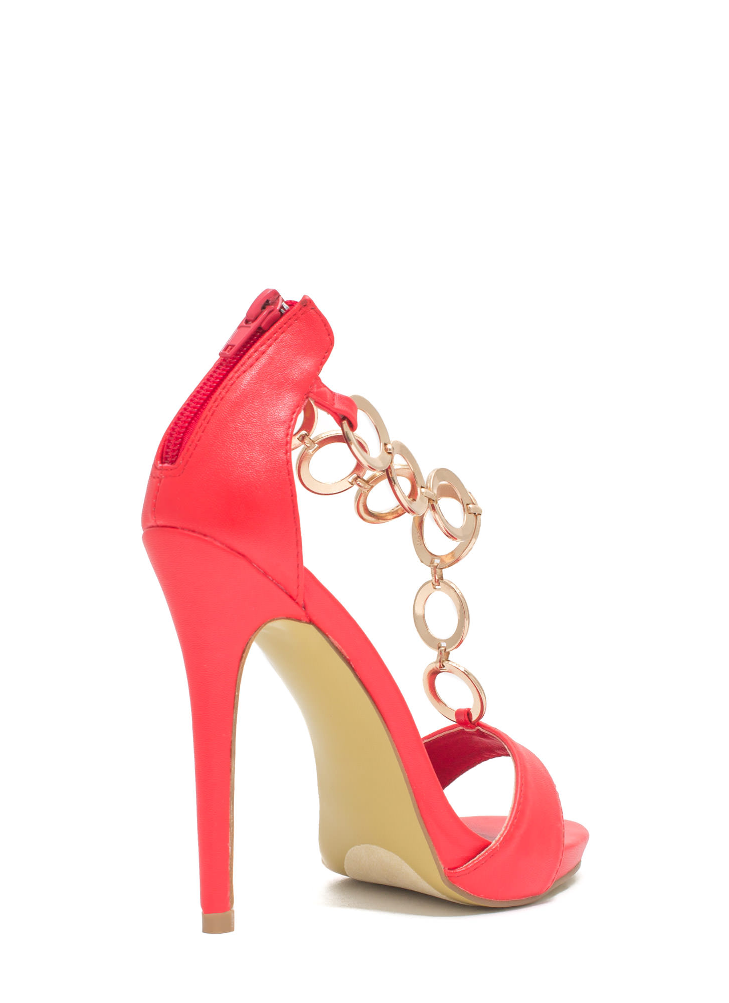 Around The Ring Faux Leather Heels RED (Final Sale)