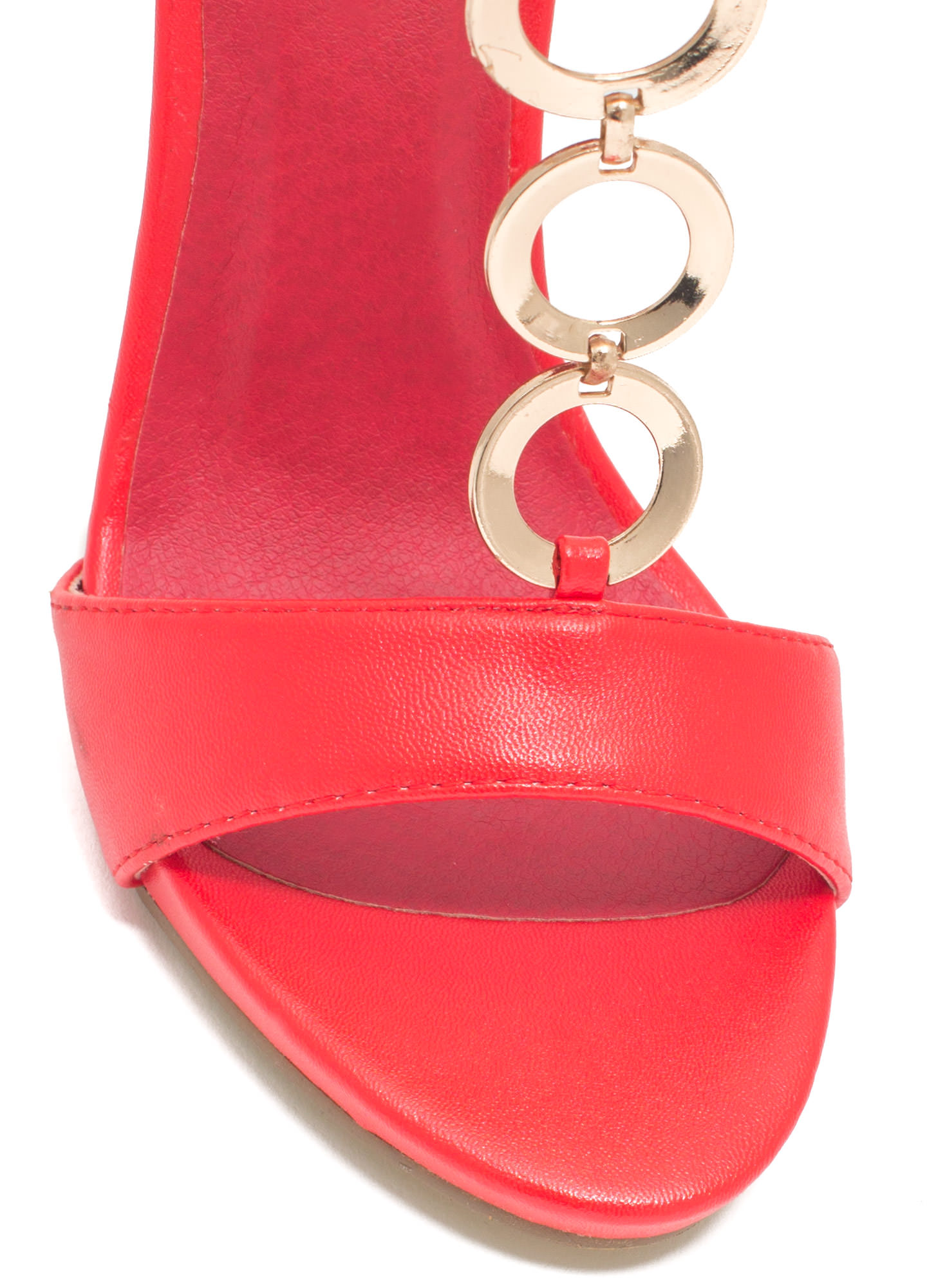Around The Ring Faux Leather Heels RED
