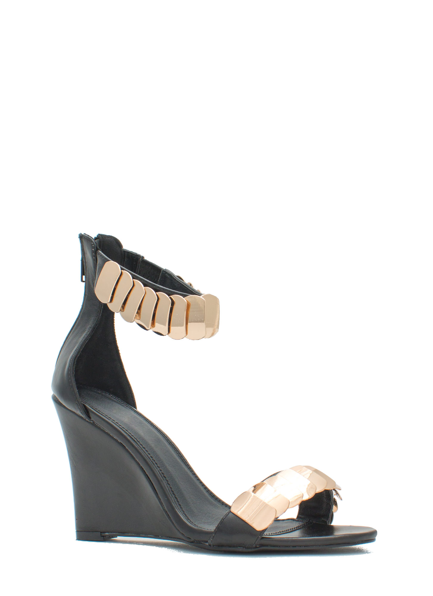 Layered Scales Faux Leather Wedges BLACK