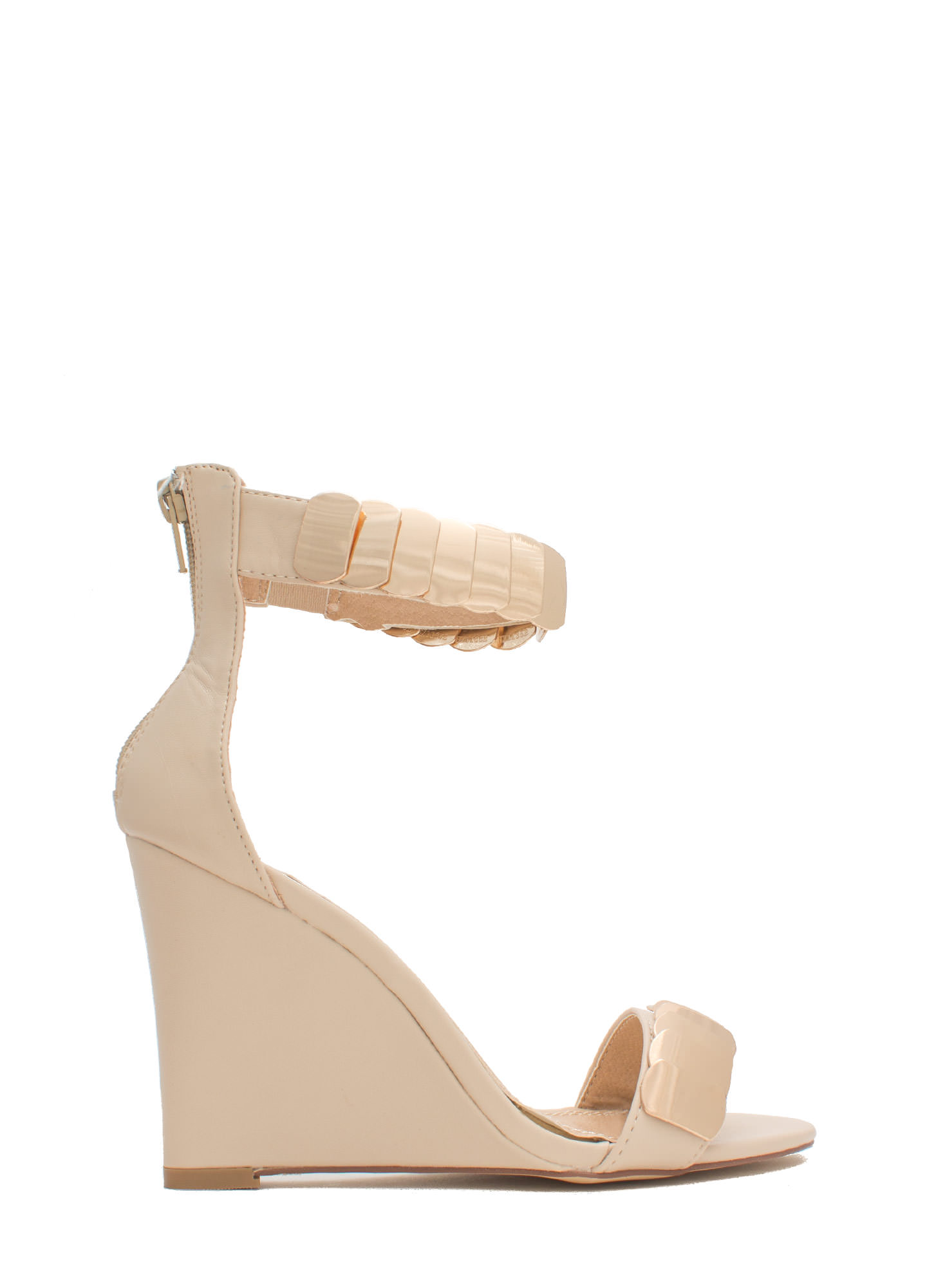 Layered Scales Faux Leather Wedges NUDE