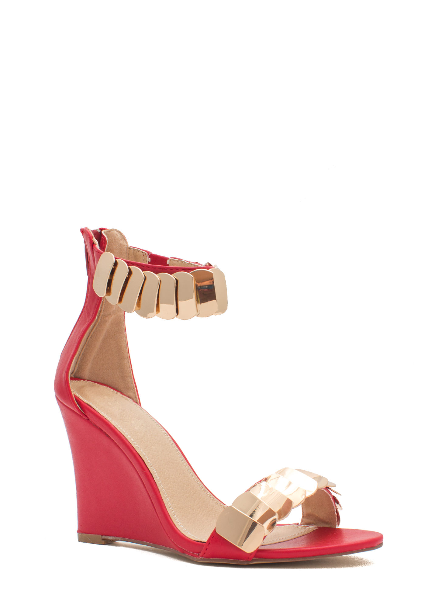 Layered Scales Faux Leather Wedges RED