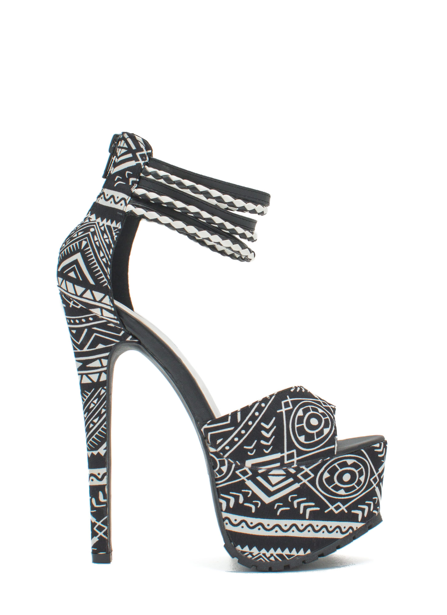 Tribal Necessity Rugged Platform Heels BLACK
