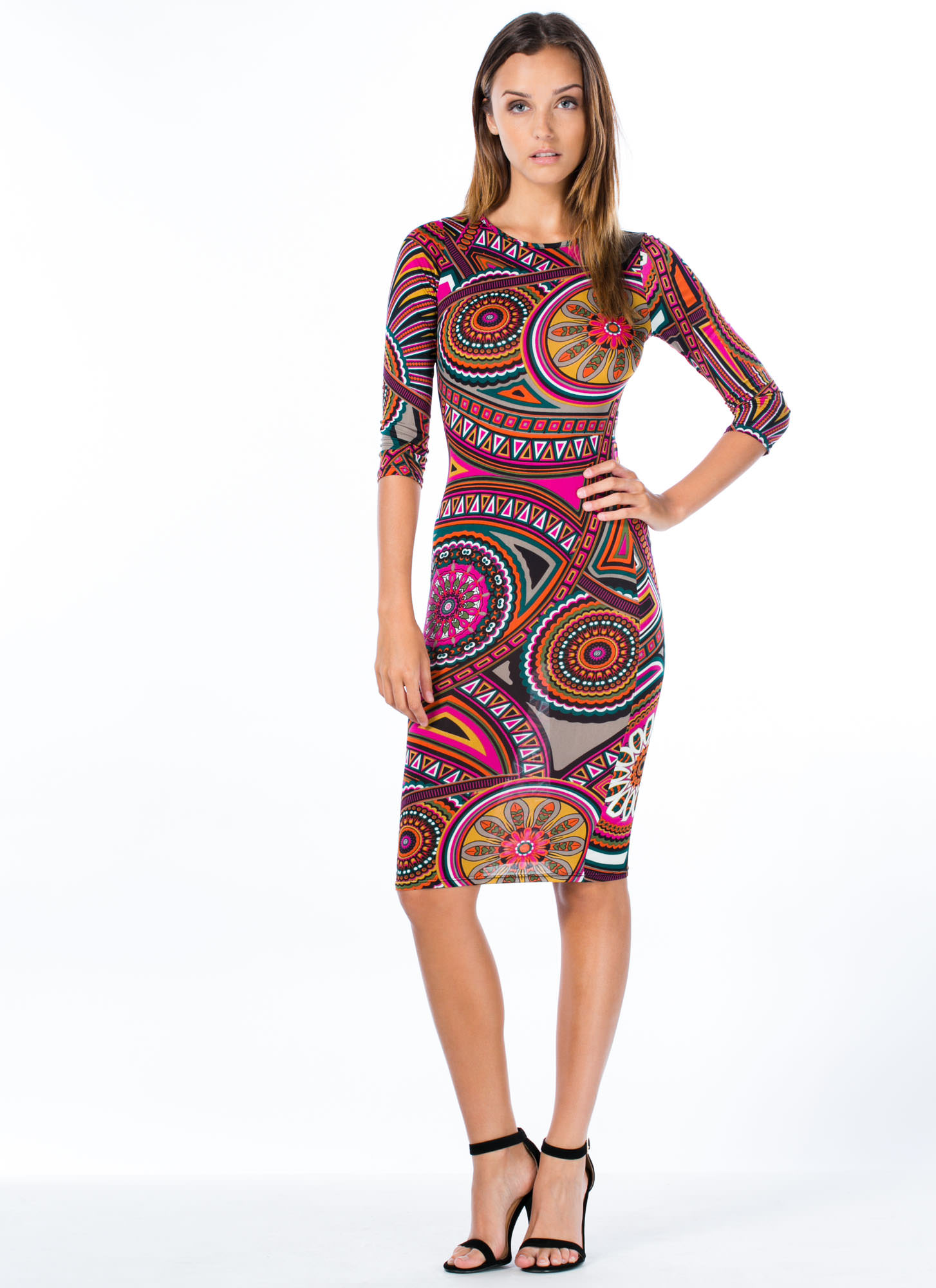 You Deserve A Medallion Midi Dress FUCHSIA