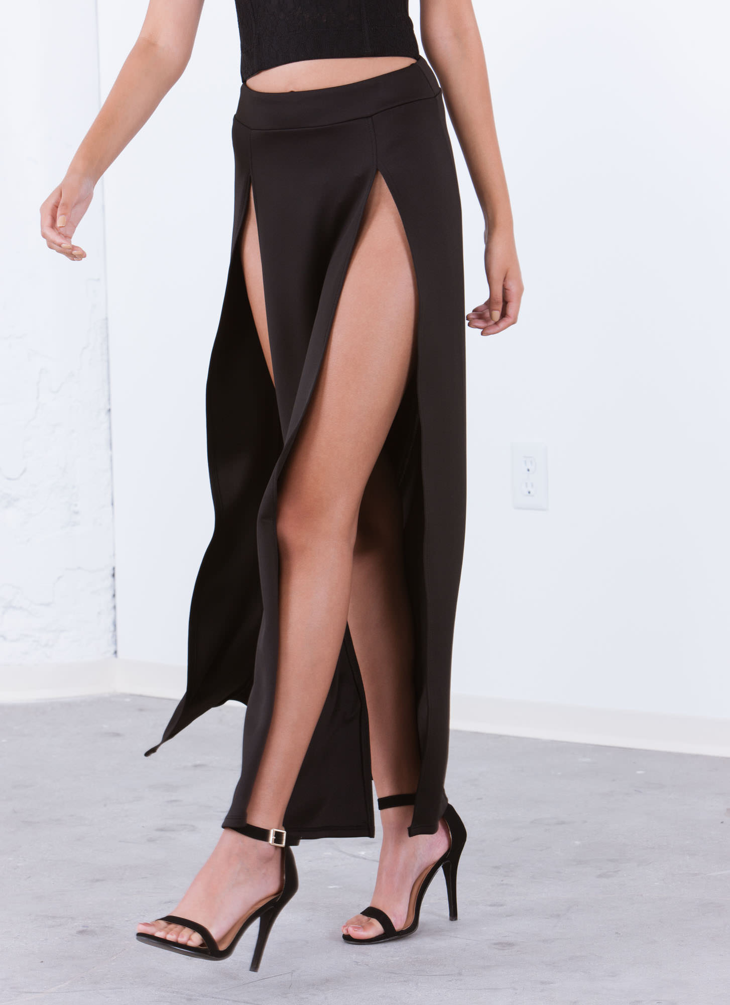 High Regard Double Slit Maxi Skirt BLACK