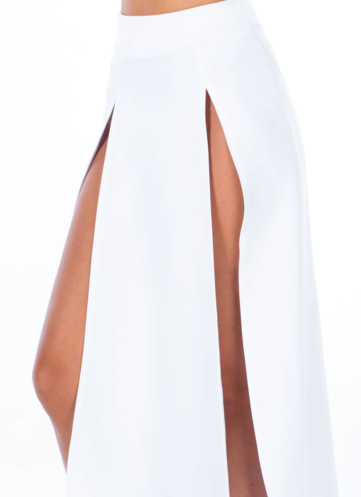 High Regard Double Slit Maxi Skirt WHITE