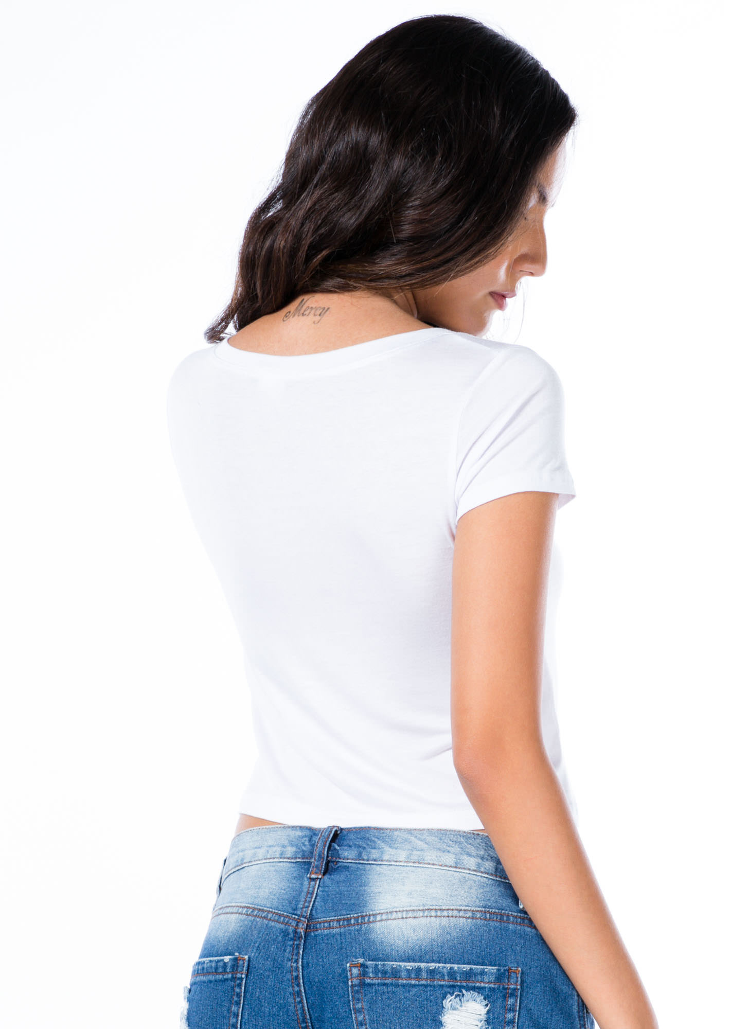 Getaway Basic Cropped Tee WHITE
