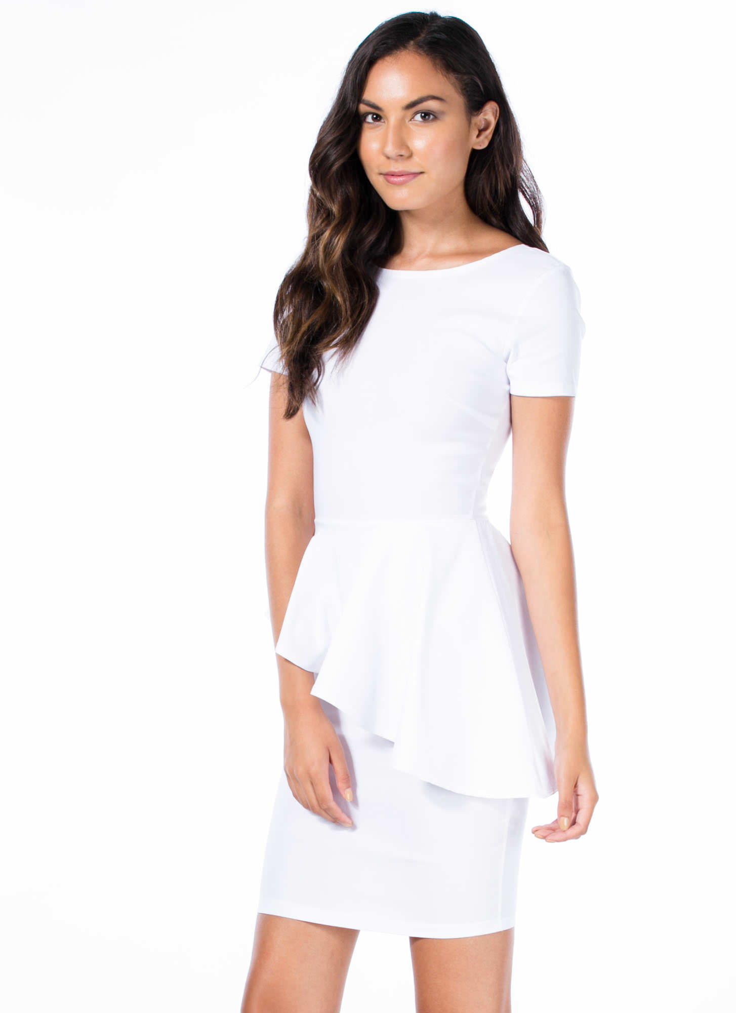Ruffle Around The Edges Peplum Dress WHITE