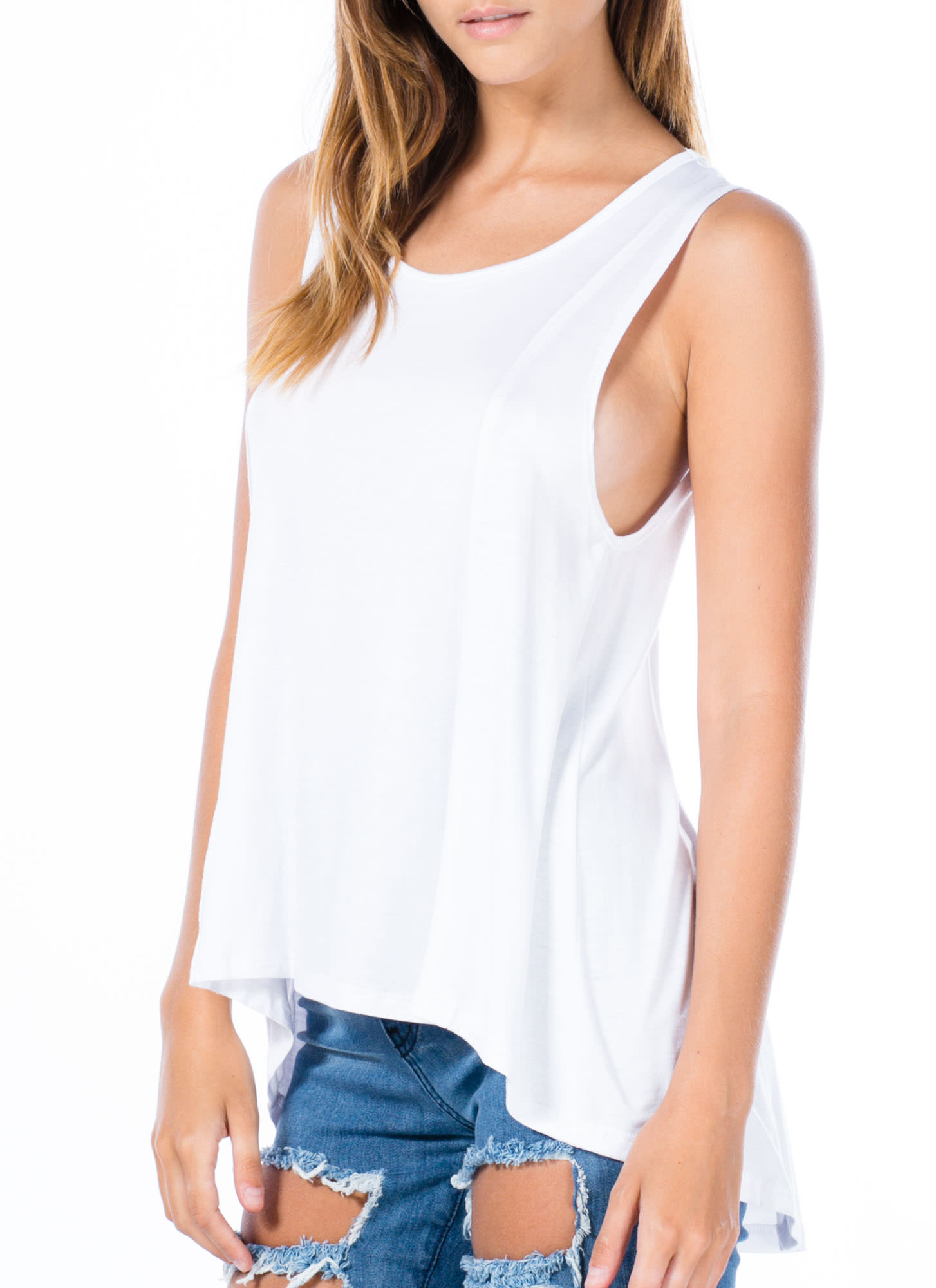 Perfect Basic High-Low Tank Top WHITE