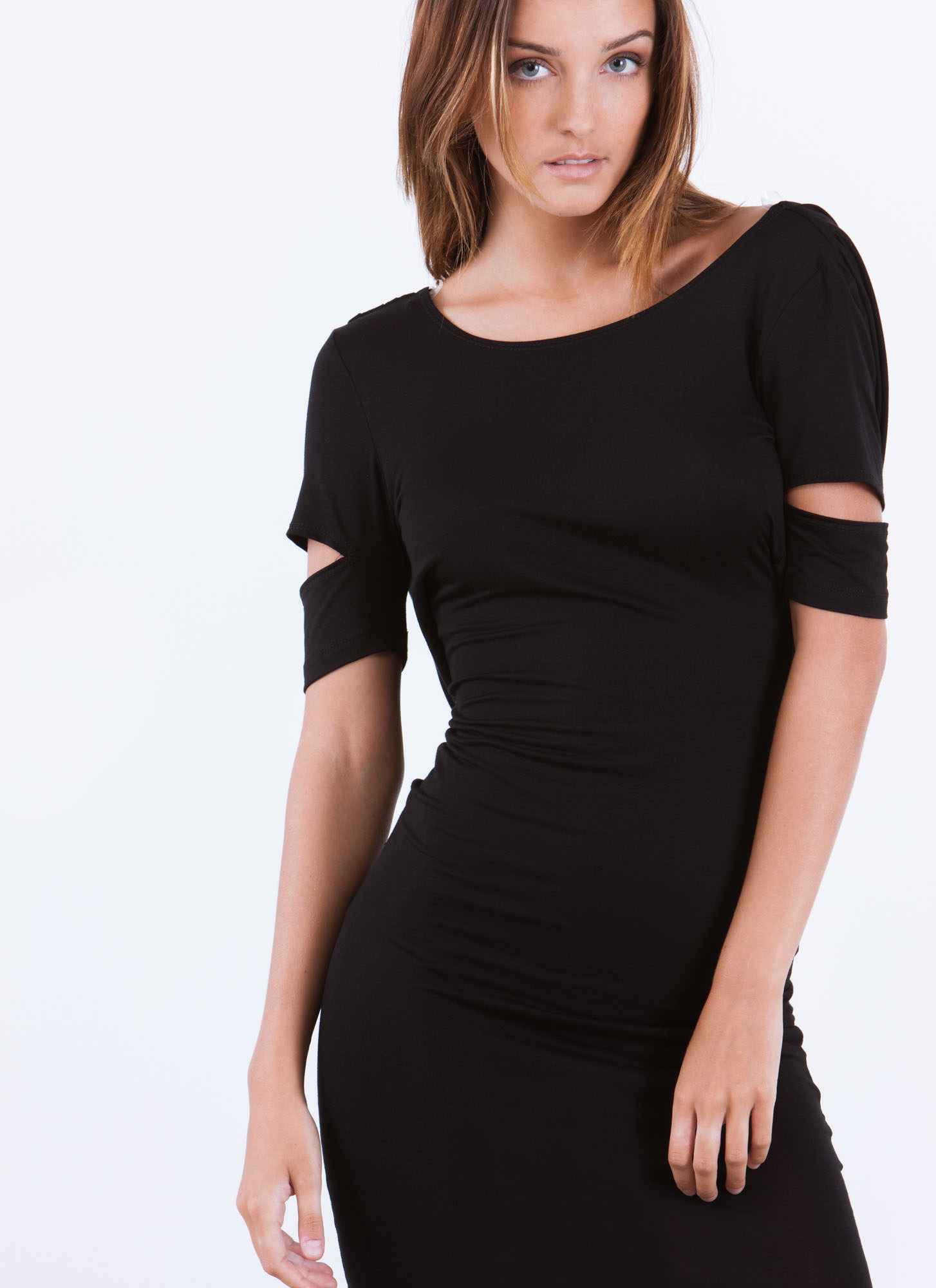 Cowl At The Moon Slit Sleeve Dress BLACK