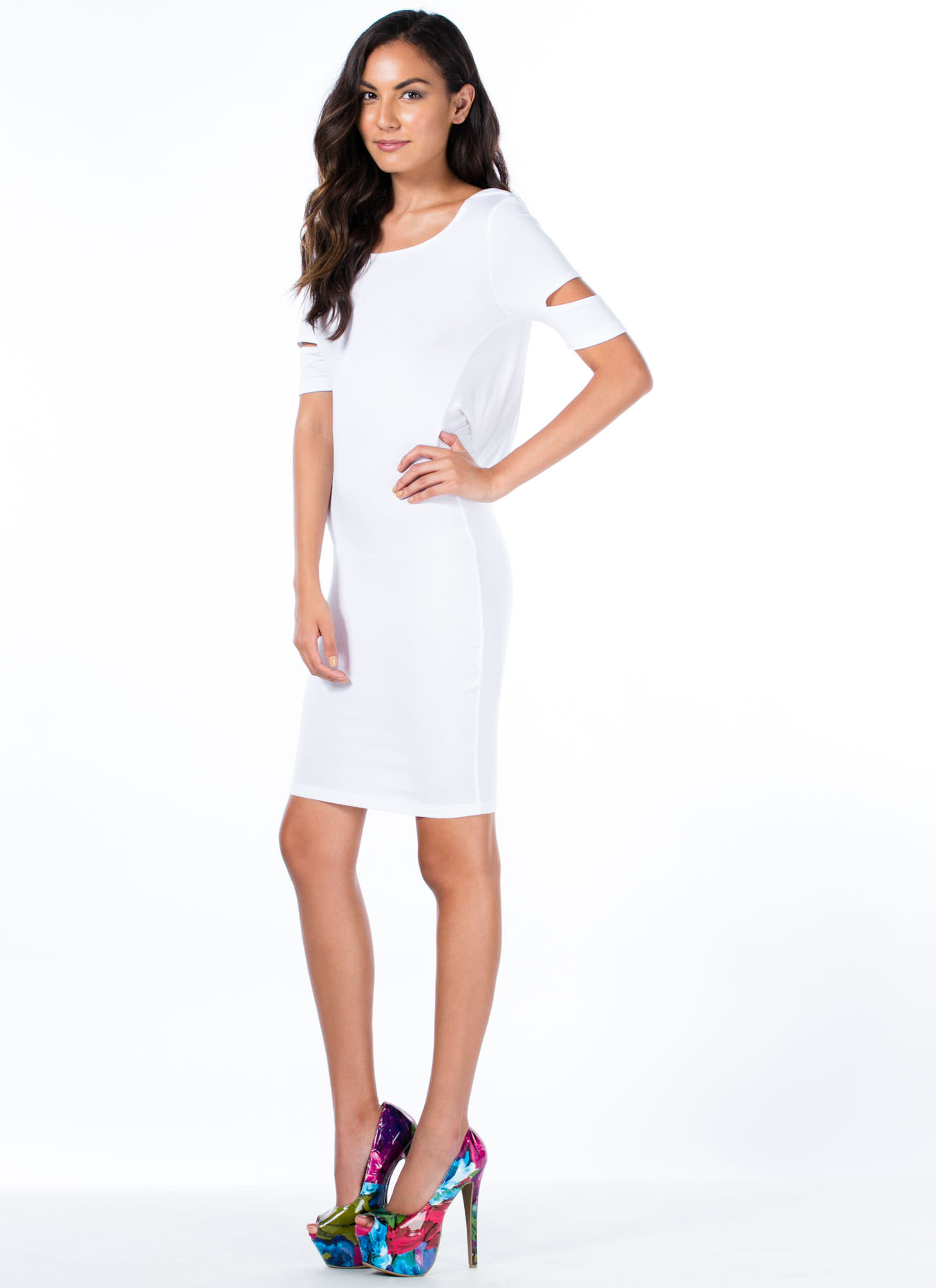 Cowl At The Moon Slit Sleeve Dress WHITE