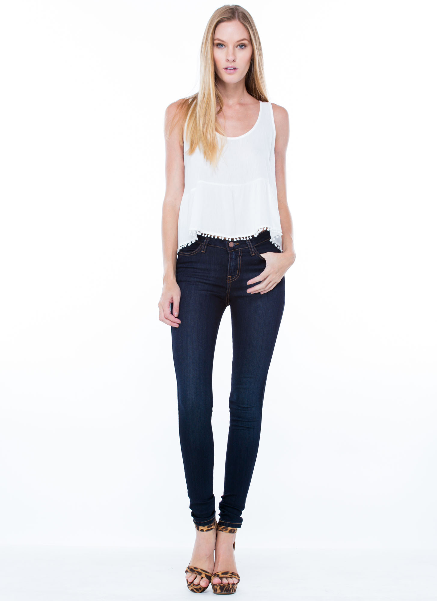 Classic Stone Wash Skinny Jeans DKBLUE