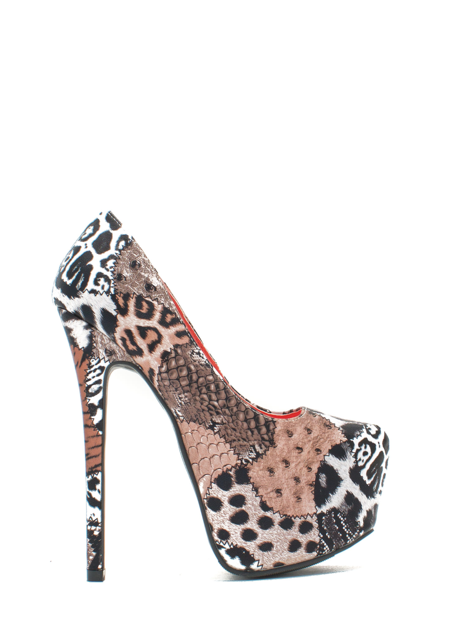 Wild Thang Mixed Animal Print Platforms TAN