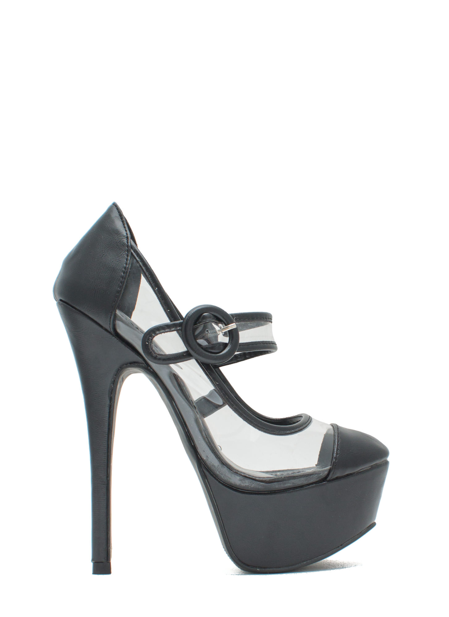 Clearly Mary Jane Round Buckle Platforms BLACK